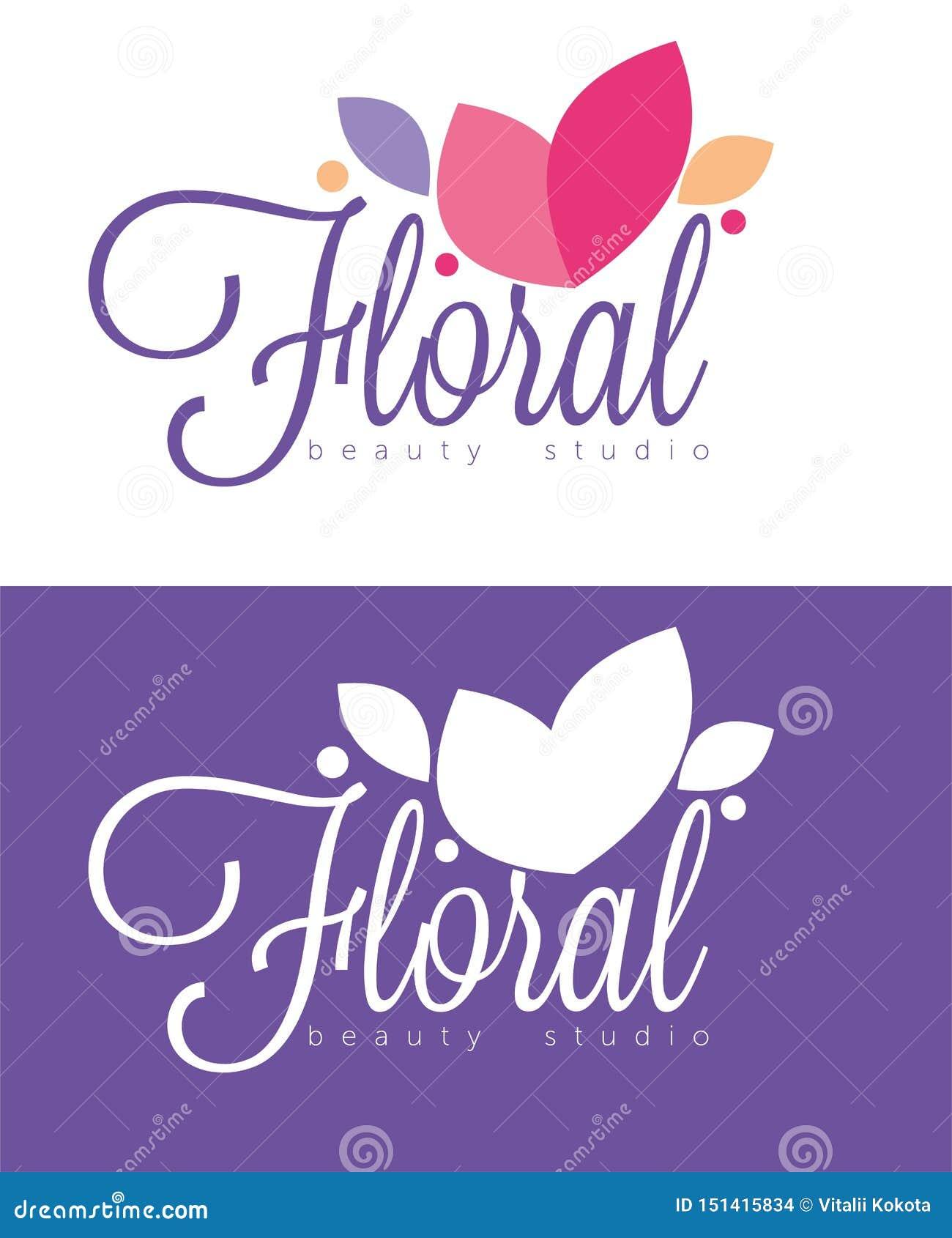 Logo et vecteur floraux de ctudio de beauté de flover de luxe