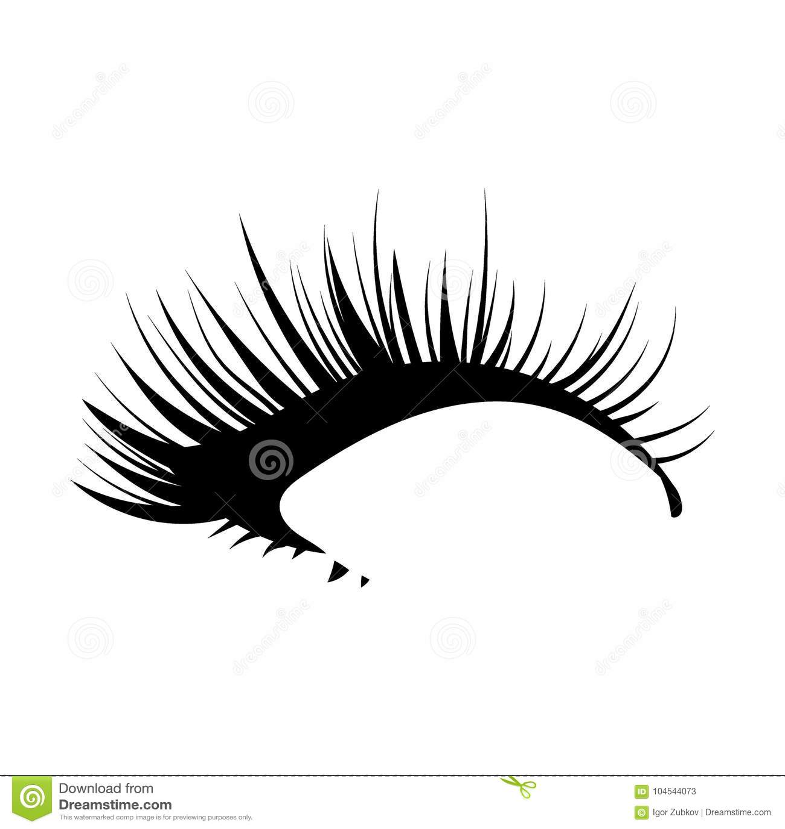 Logo of eyelashes. Stylized hair. Abstract lines of triangular shape. Black and white vector illustration.