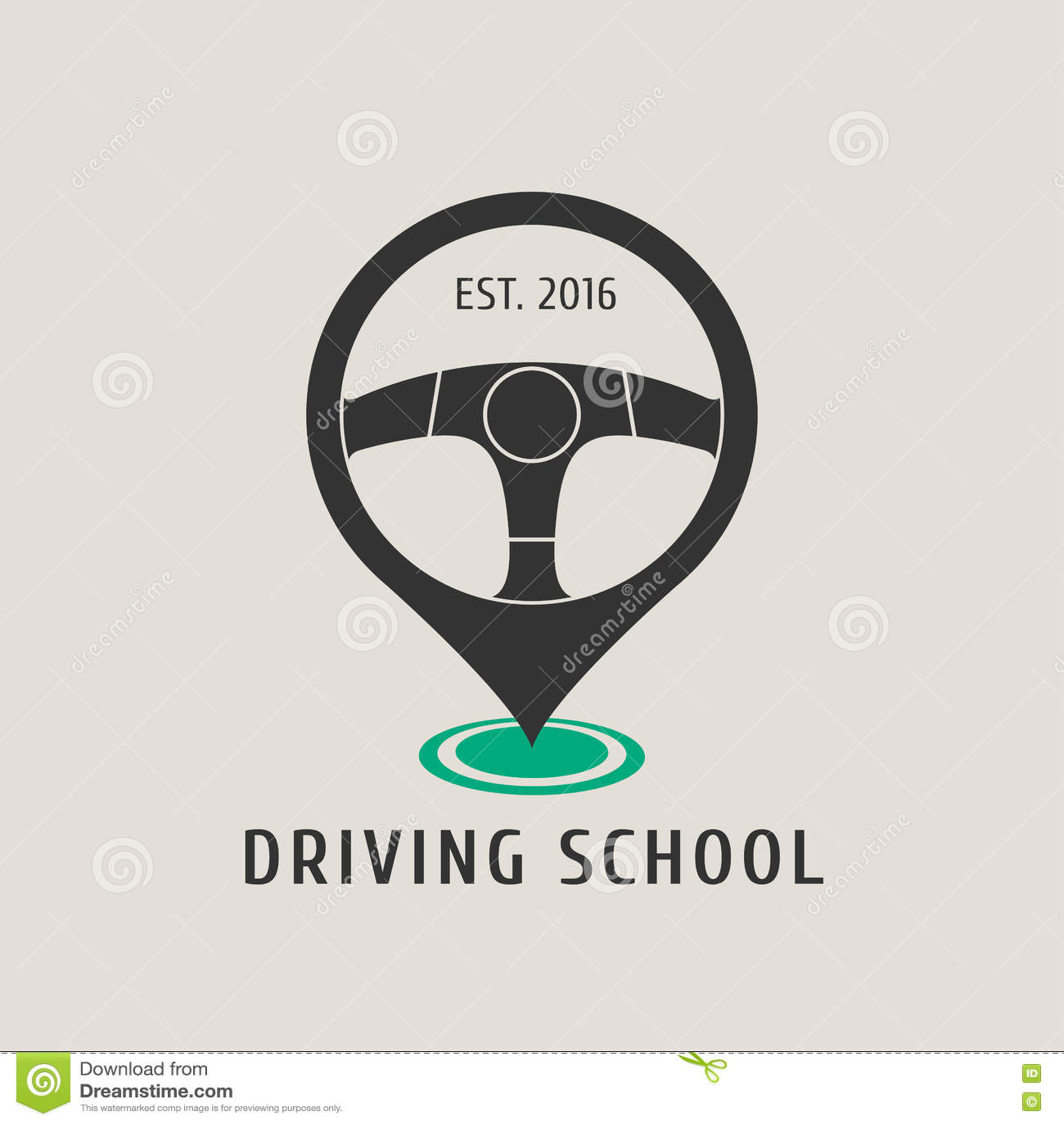 Logo för bilkörskolavektor, tecken, emblem