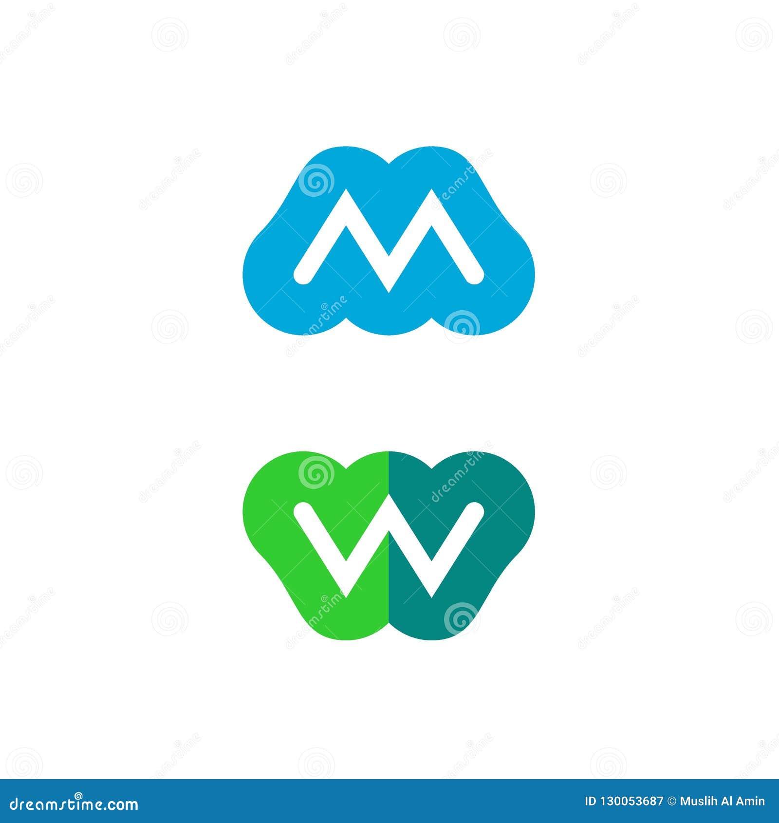 Logo för bokstav M och W-