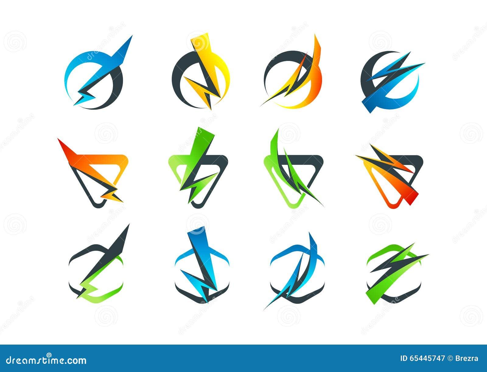 Logo för företags affär, prålig symbolsymbol och åskviggbegreppsdesign