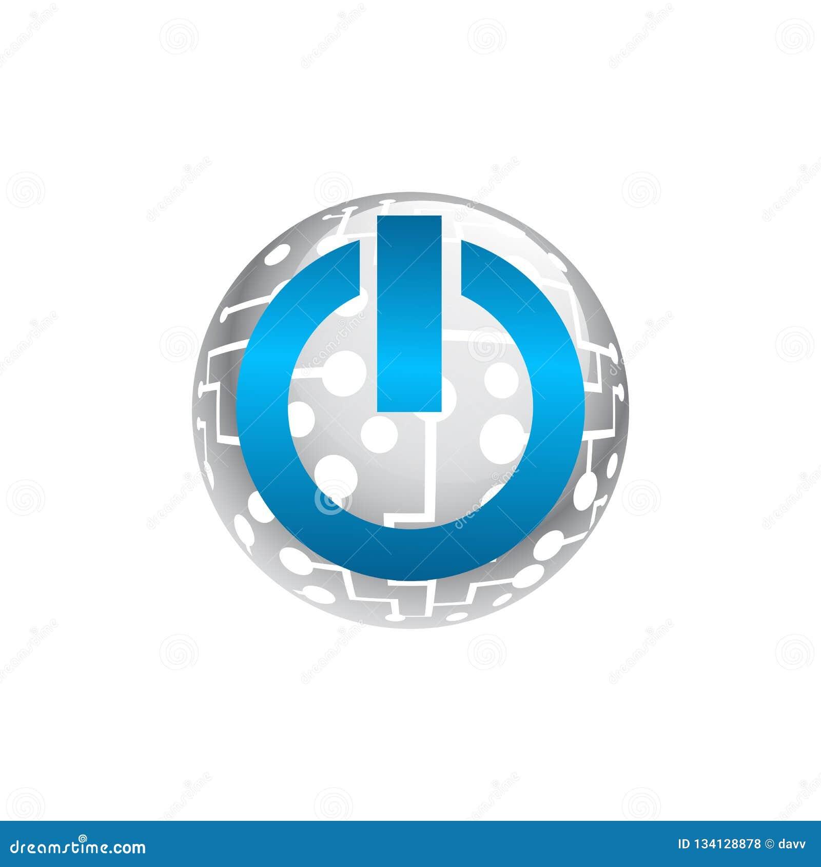 Logo för knapp för begreppssymbolmakt Plan enkel modern illustrationpictogram
