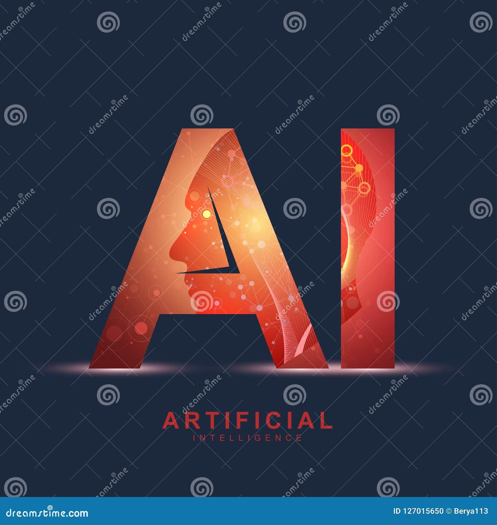 Logo för konstgjord intelligens Begrepp för konstgjord intelligens och för lära för maskin Vektorsymbol AI Nerv- nätverk