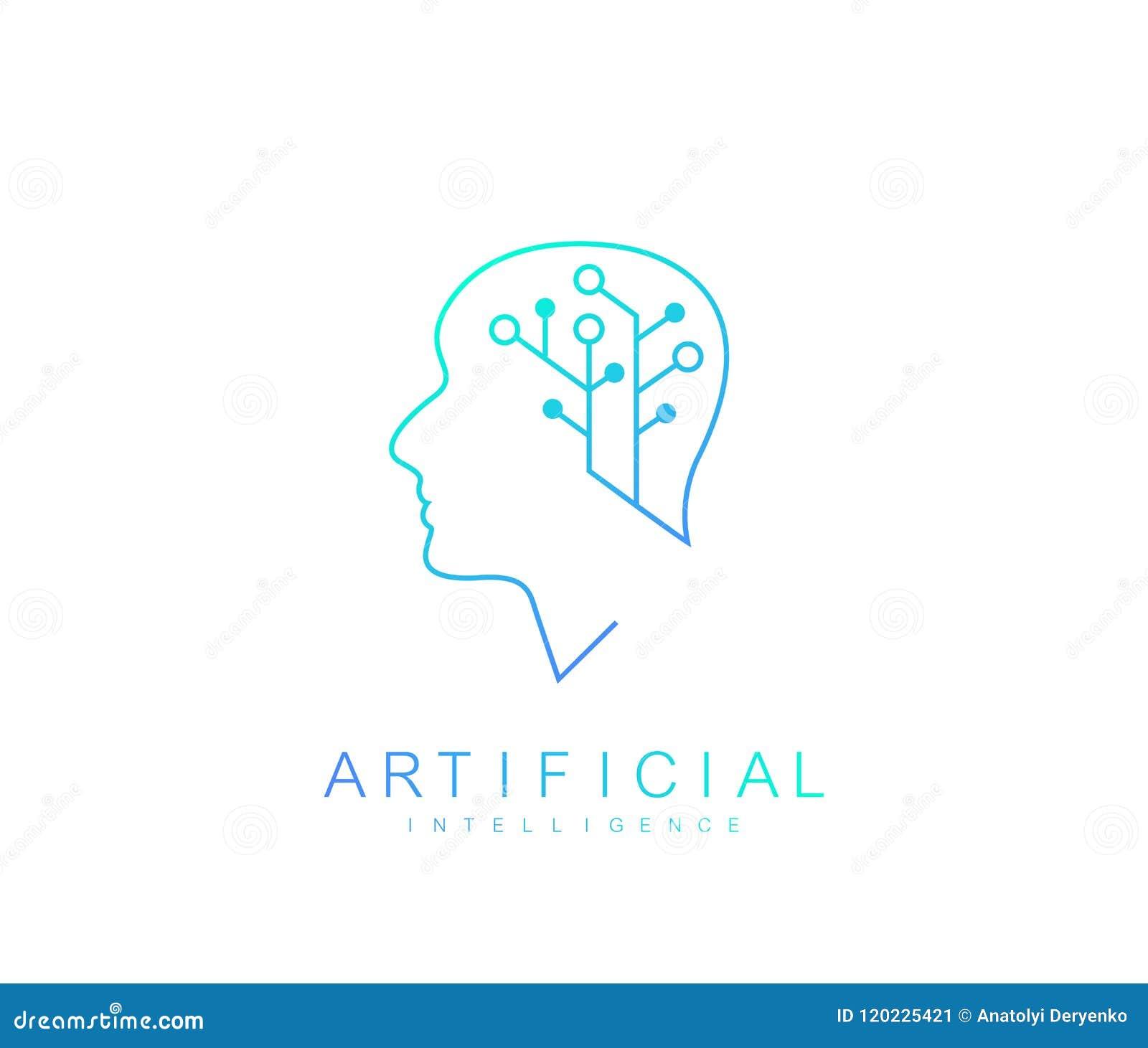 Logo för konstgjord intelligens för vektormall Symbol för konstgjord intelligens, logotyp, symbol konstgjord intelligens