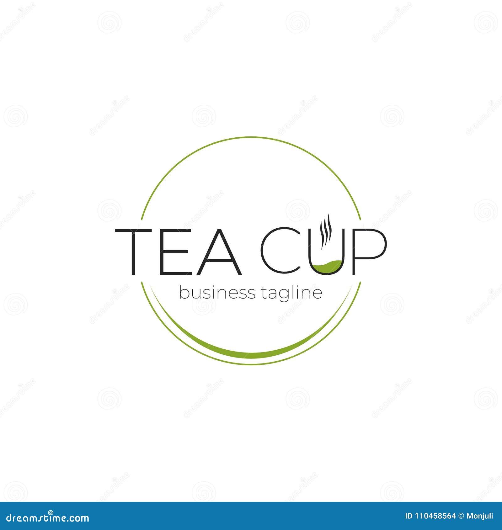 Logo för tekopp - dryck, teblad