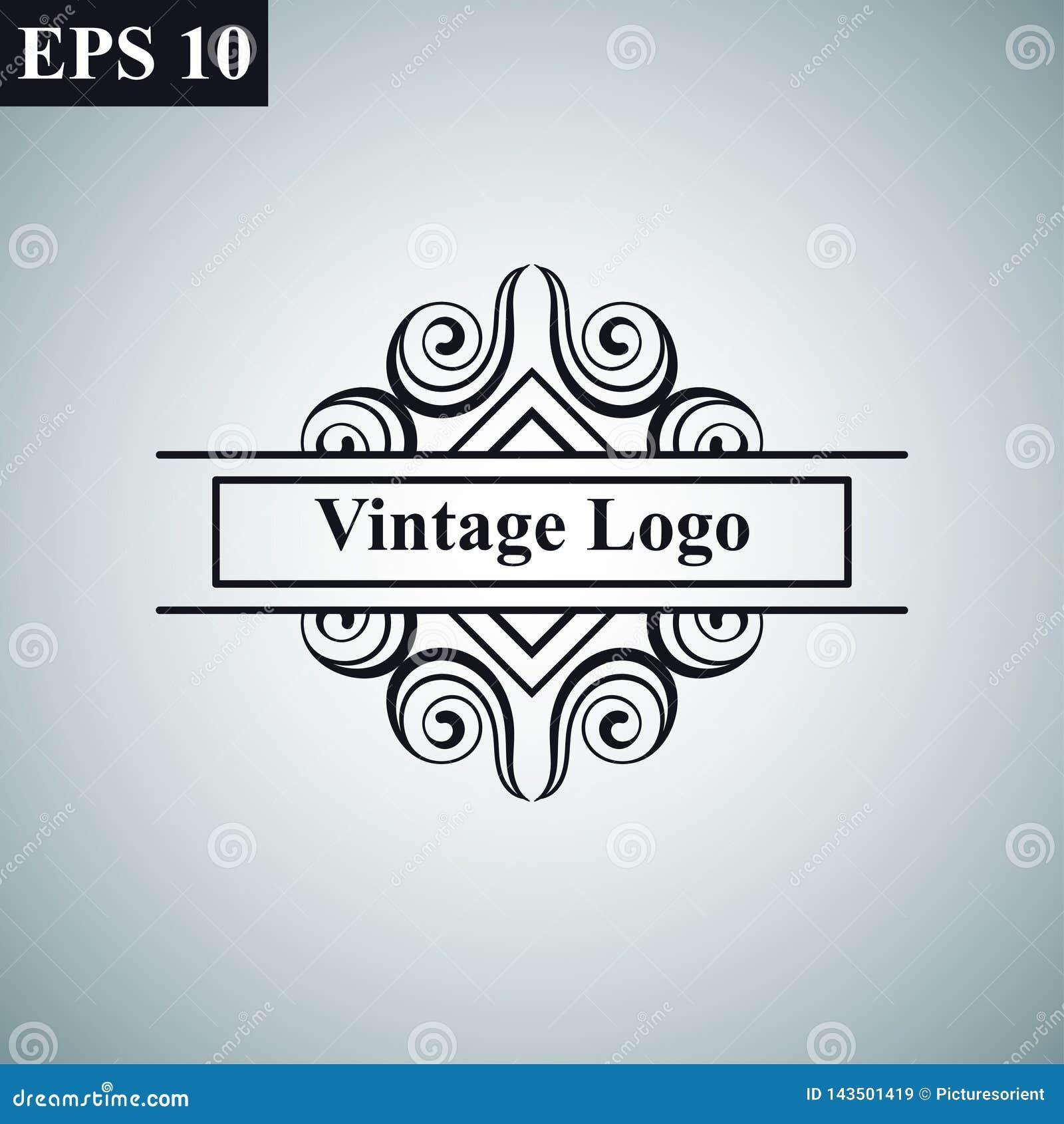Logo för vektor för lyxig retro för tappning dekorativ antik för art déco monokrom tappning för hipster minsta geometrisk linjär