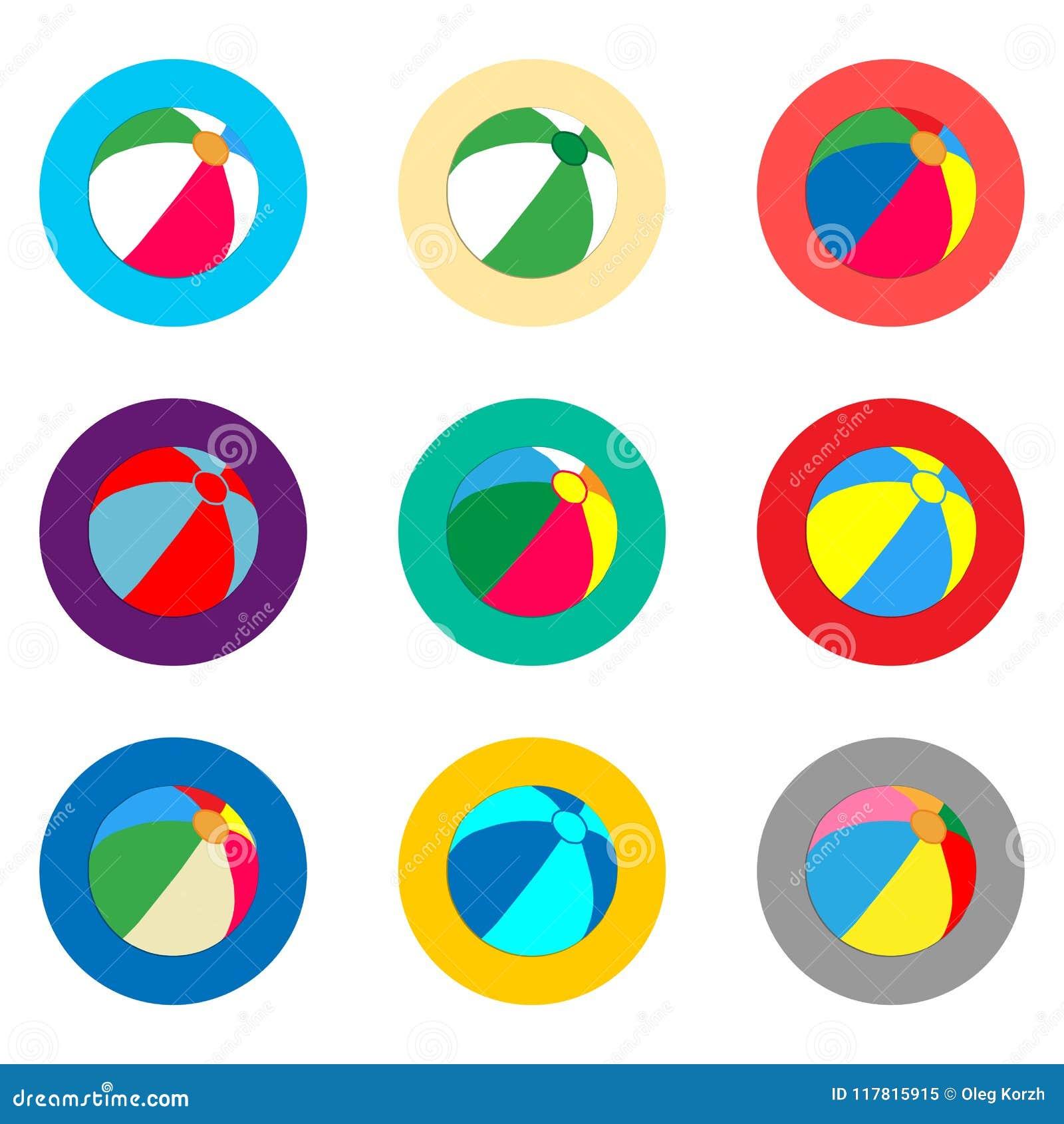 Logo för vektorsymbolsillustration för strandbollen för fastställda symboler för plommoner