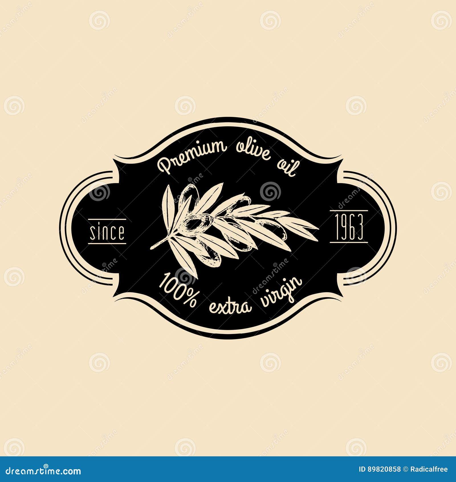 Logo för vektortappningoliv Retro emblem med filialen Handen skissade det naturliga extra jungfruliga oljeproduktiontecknet