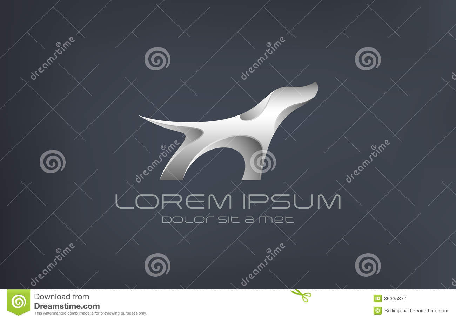 Logo Fashion Luxury Jewelry Dog Metal Abstract Sil Stock