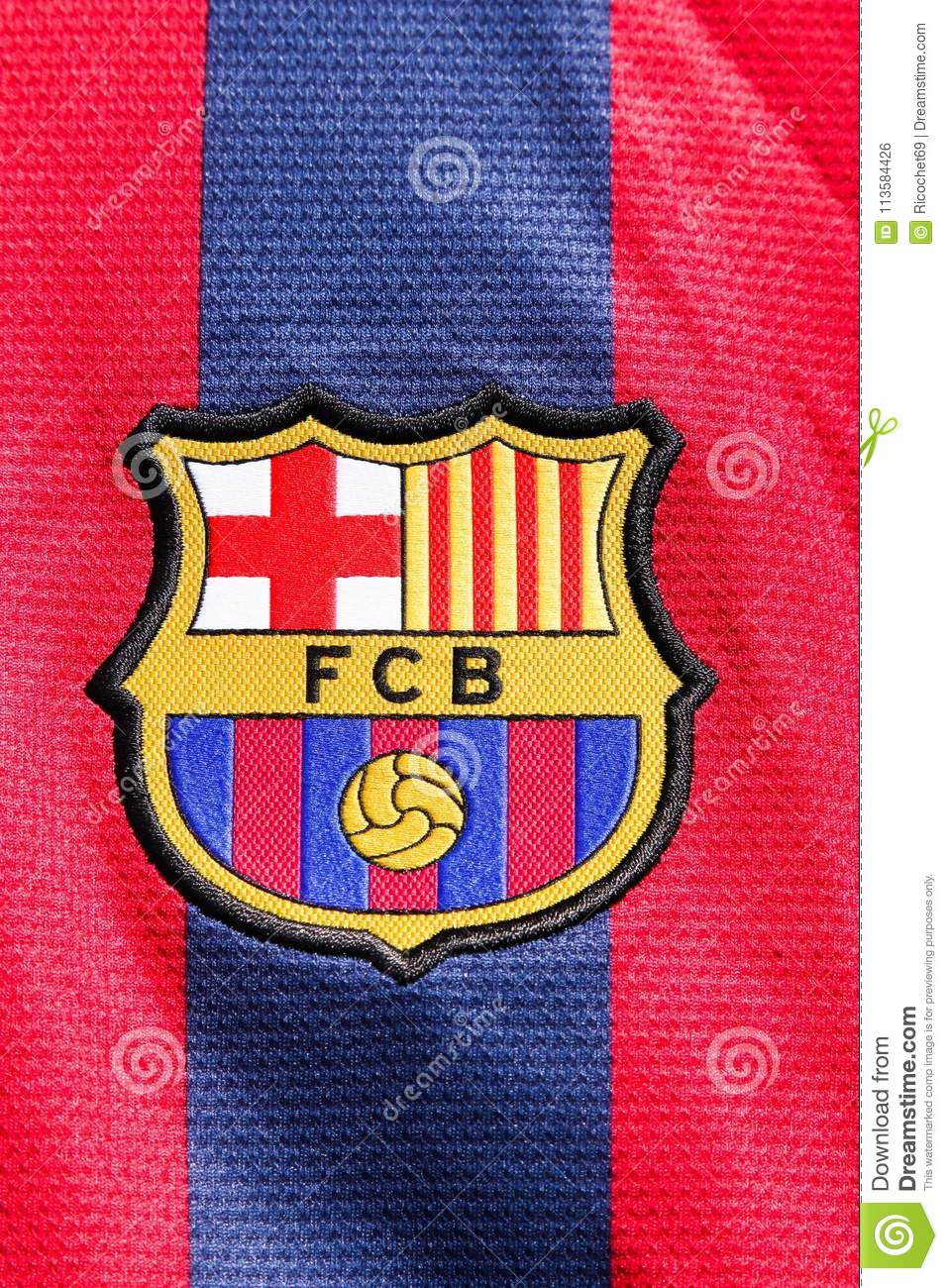 Logo Of Fc Barcelona On A Shirt Editorial Photo Image Of Sport