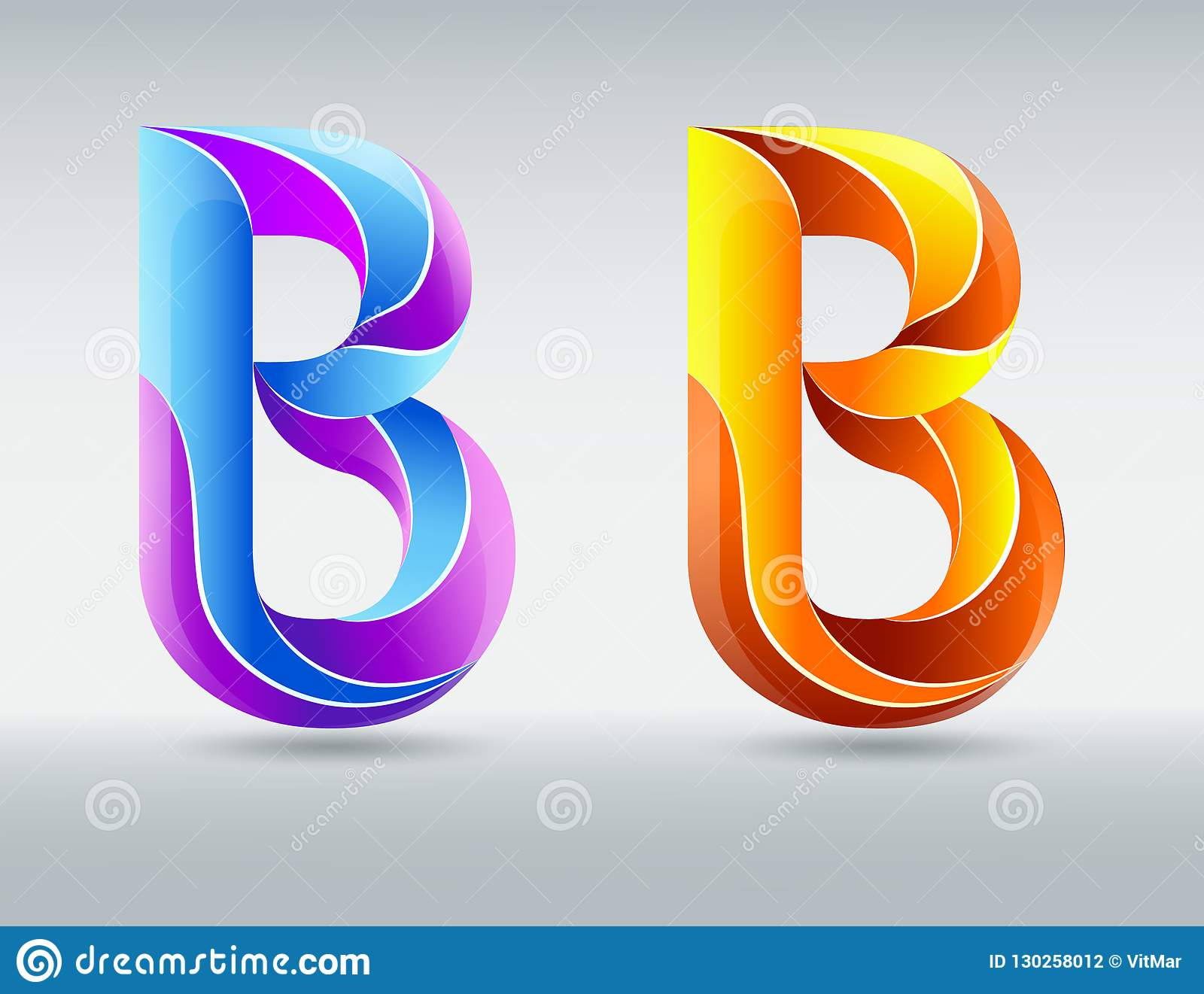 Logo Fonts  Vector Letter B  Creative Twisted 3D Font  Colorful