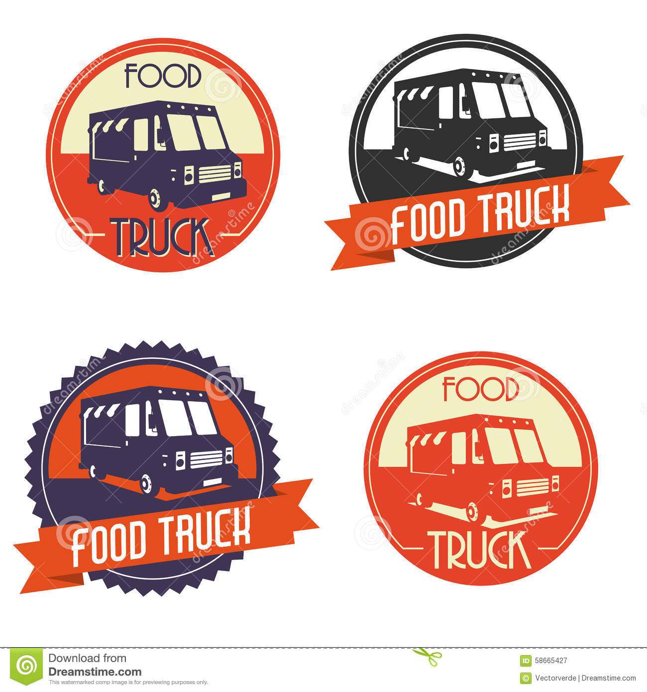 Food Truck And Ice Cream Emblems, Badges And Design ...