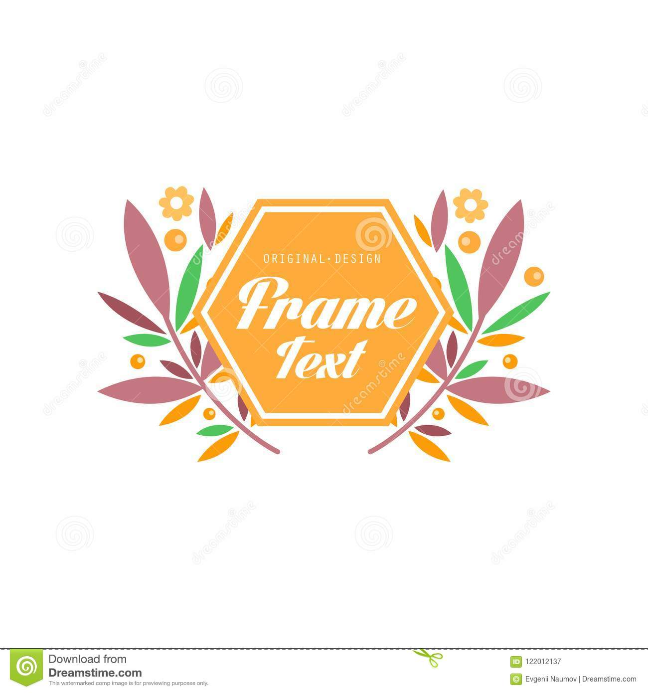 Logo With Frame And Flowers Elegant Floral Badge Template Sign For