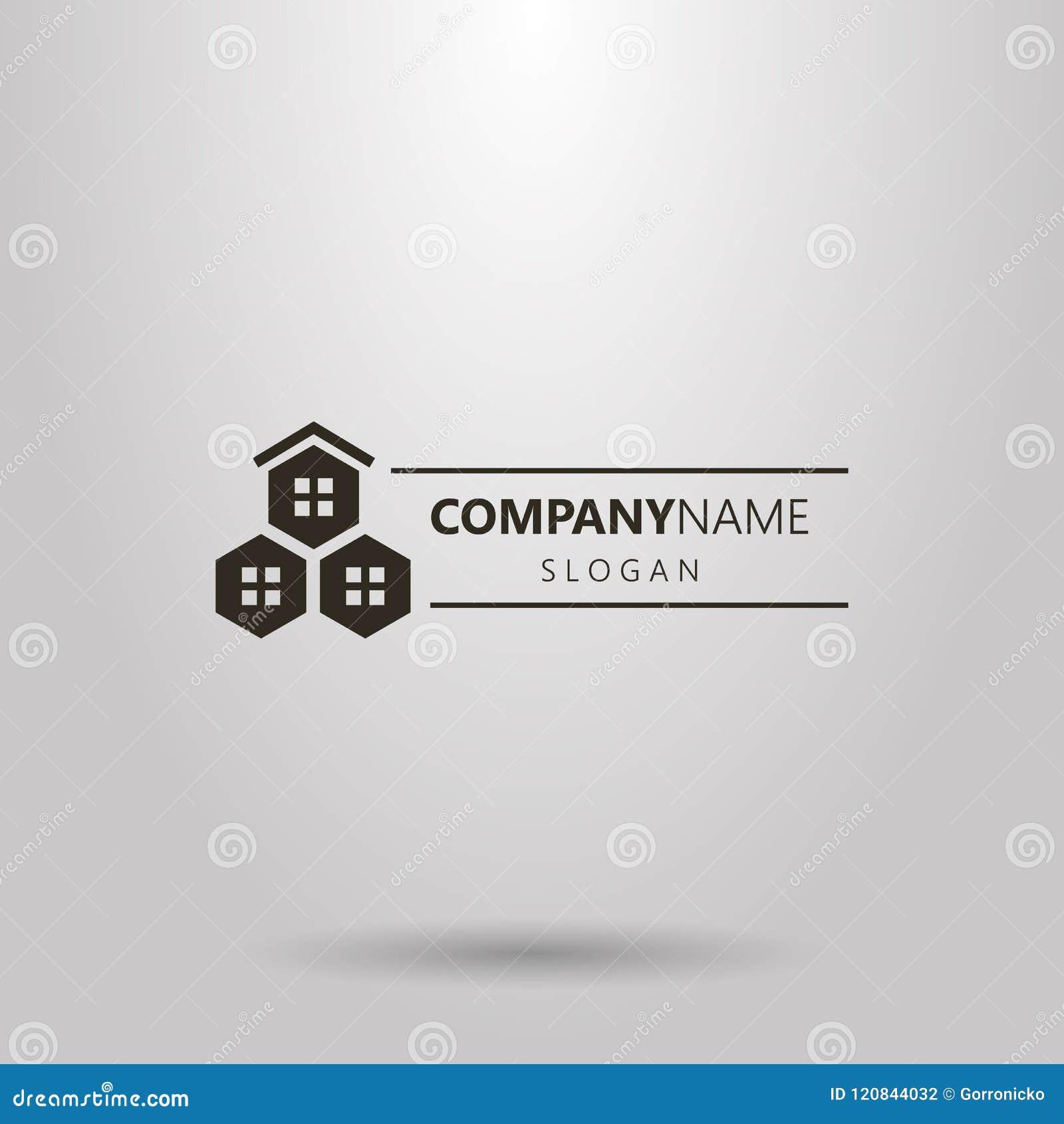 Logo geometrico orizzontale di vettore semplice delle finestre del favo