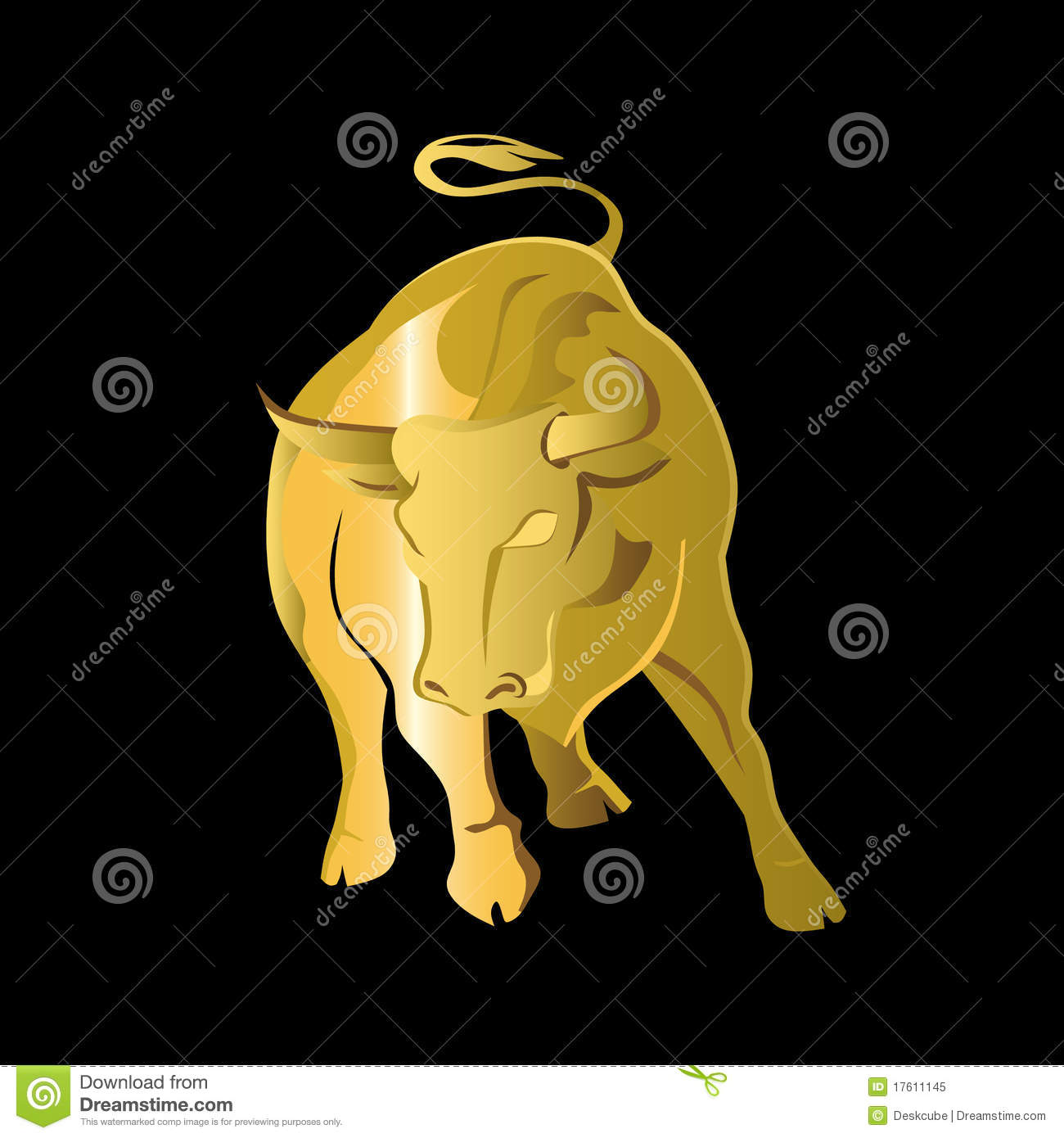 Logo Gold Bull Stock Vector Illustration Of Beast Main 17611145