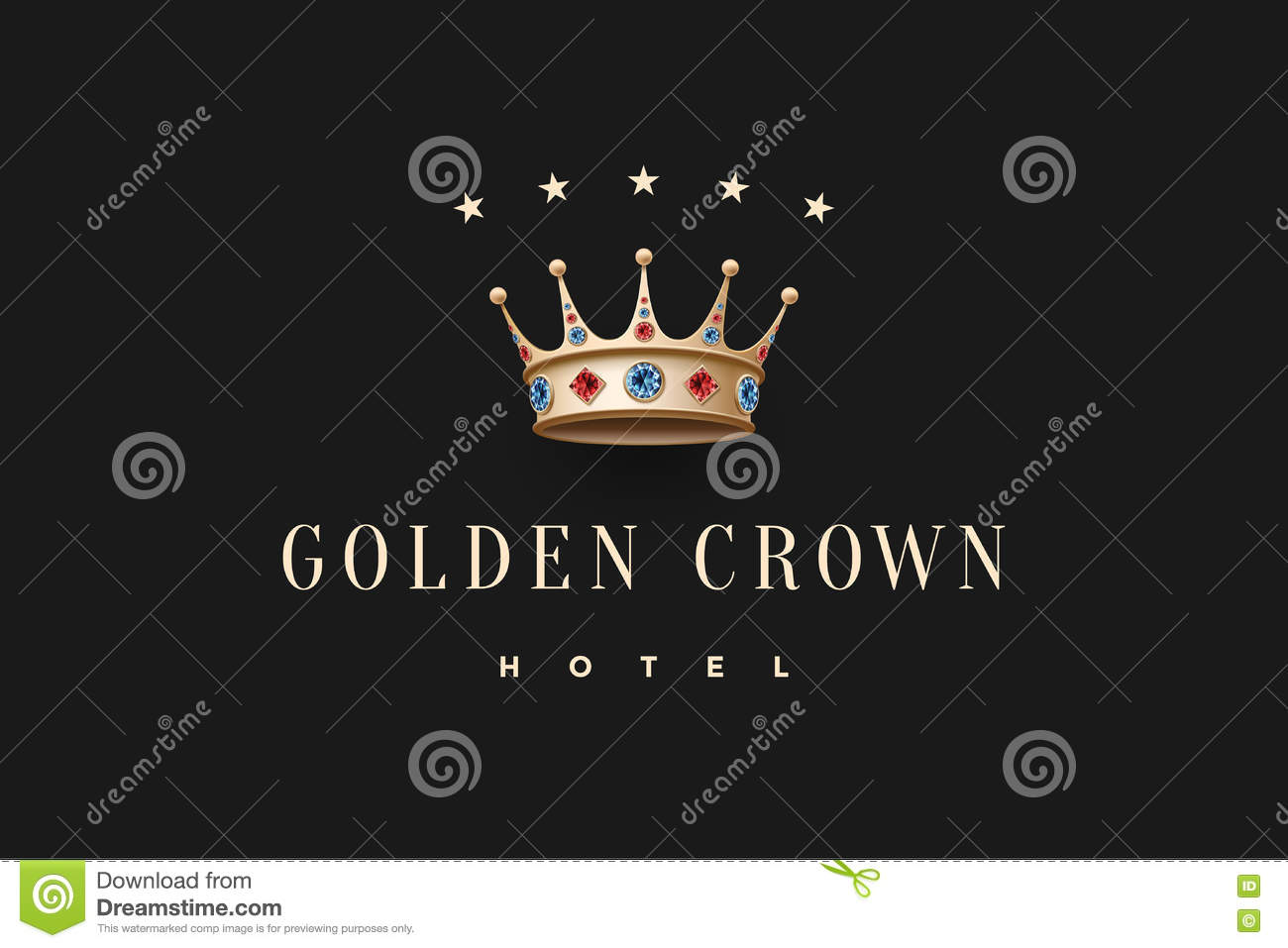 Logo With Gold King Crown Diamond And Inscription Golden