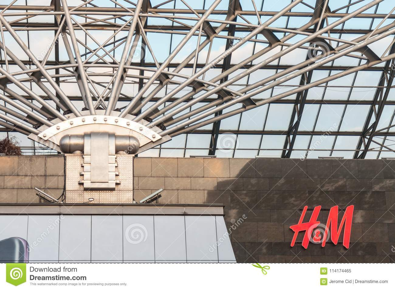 Picture of the logo of H M taken in Hungary on the West End Mall in Budapest.  H   M 9aa773a58e