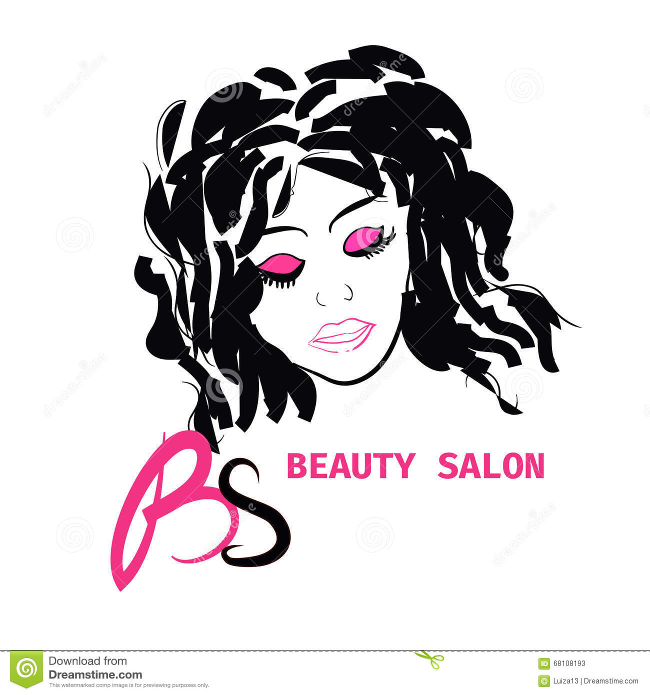 Logo hairstyle card for beauty salon in vector with for Salon de beauty
