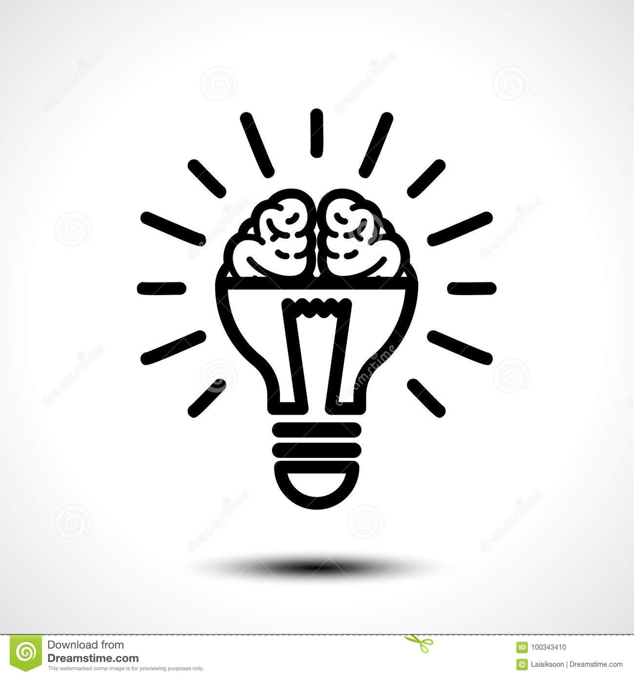 Logo With A Half Of Light Bulb And Brain Isolated On White