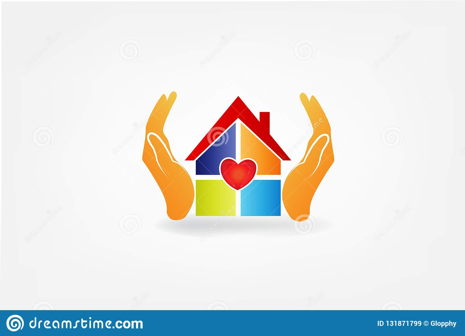 Surprising Logo Hands And House With A Heart Love Vector Image Stock Home Remodeling Inspirations Genioncuboardxyz