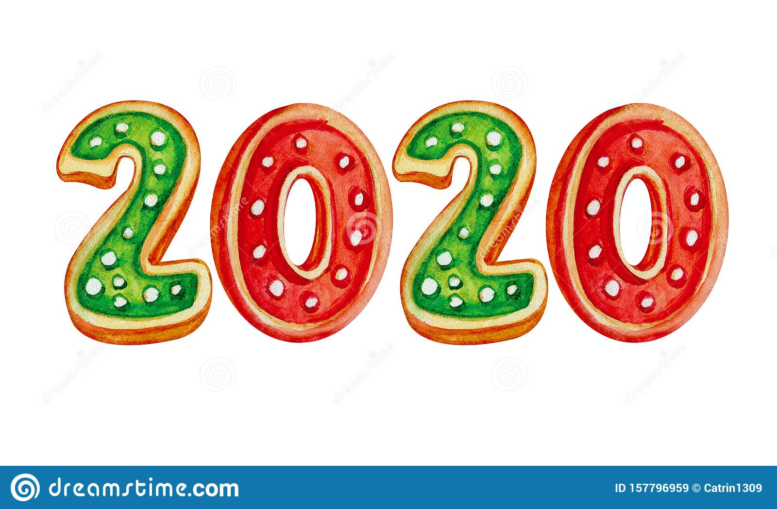 Christmas 2020 Logo Logo 2020 Happy New Year And Merry Christmas In Watercolor. Red
