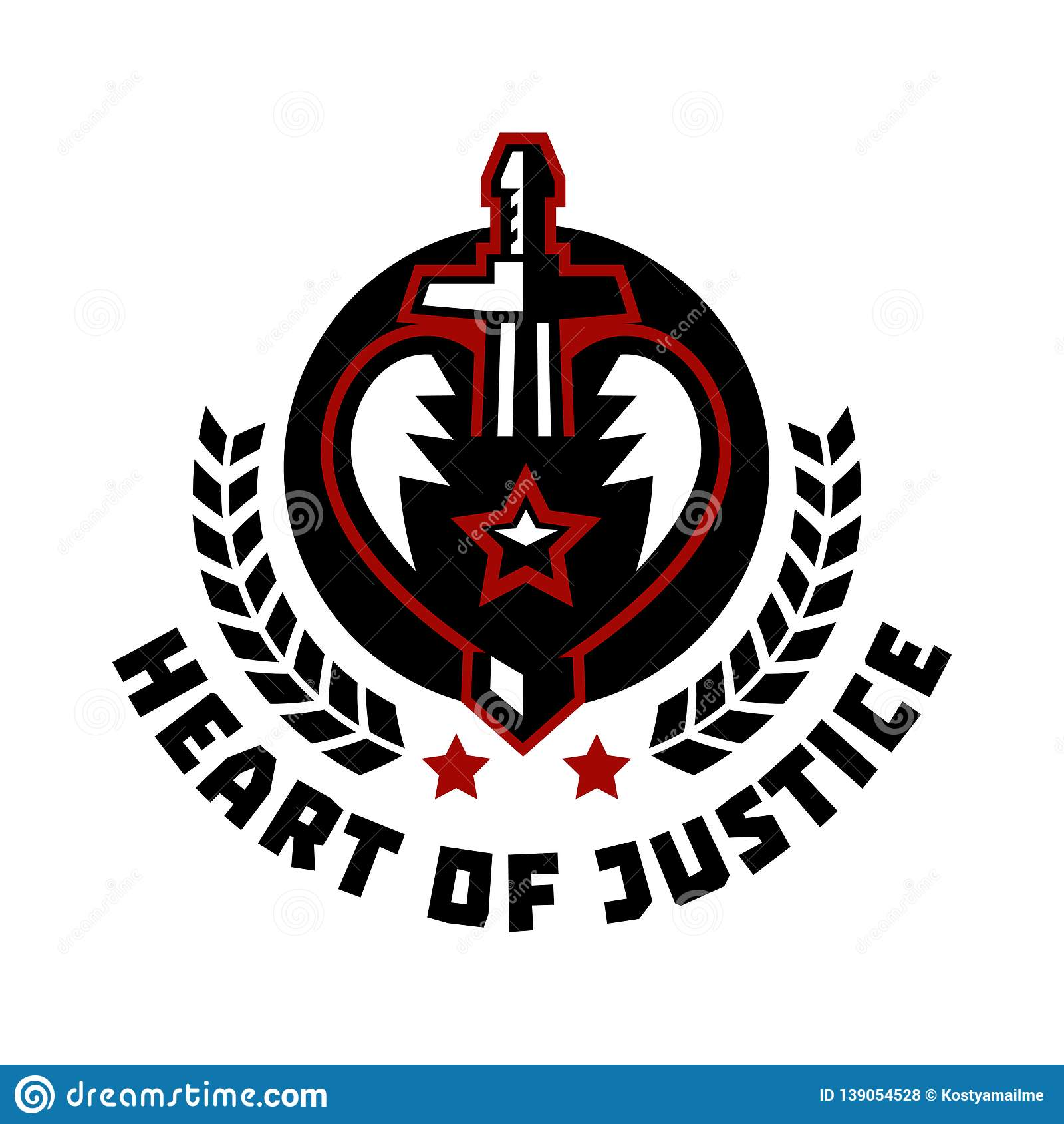 Logo heart of justice. The sword piercing the heart. Blood, cut. The struggle for justice. Hero Theme. Wreath. Vector