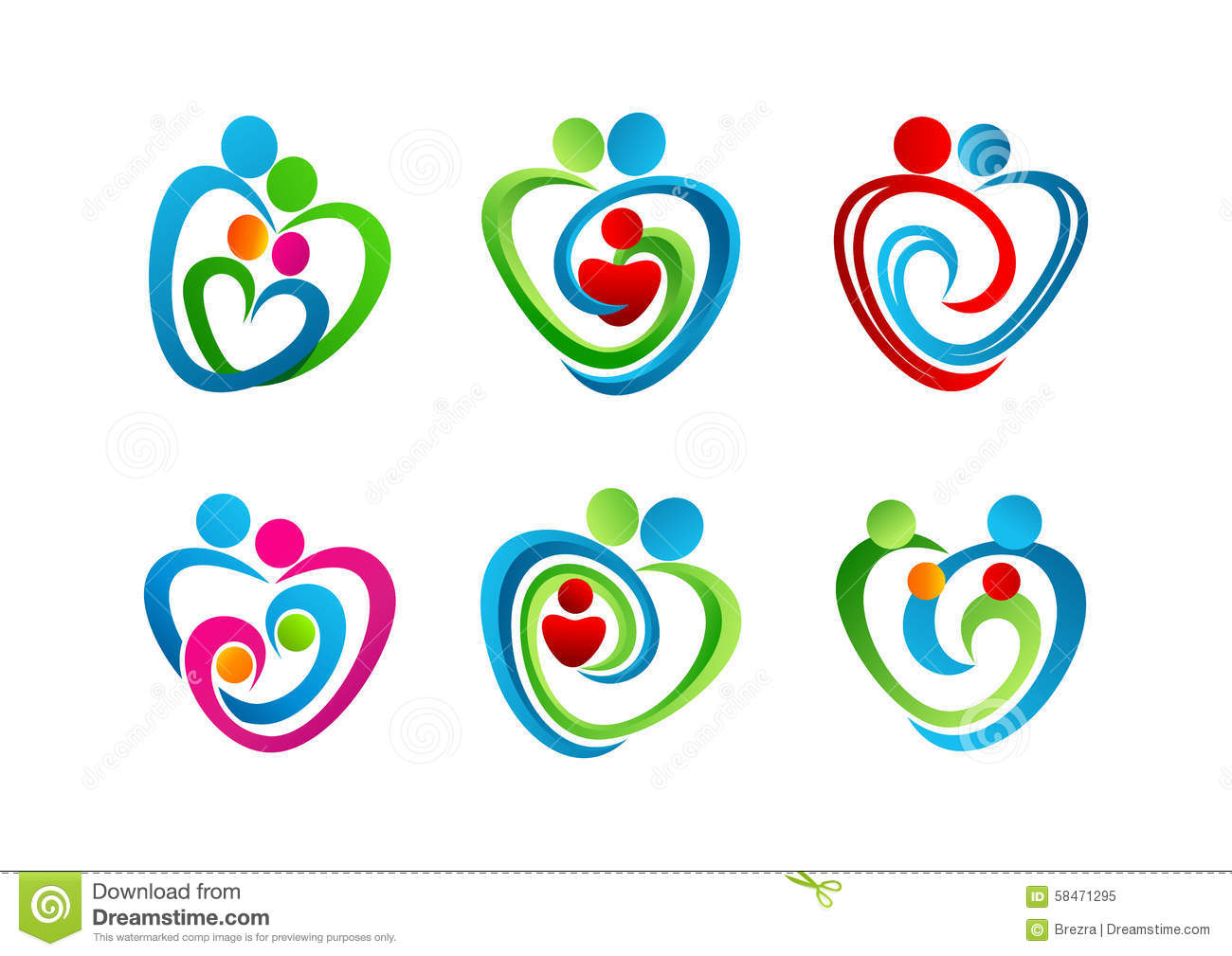 Logo parenting, family heart symbol, an icon of love and care concept ...