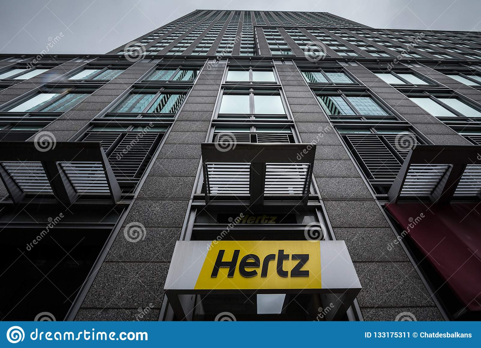Car Rental Montreal >> Logo Of Hertz On Their Main Office For Montreal Quebec Hertz Is A