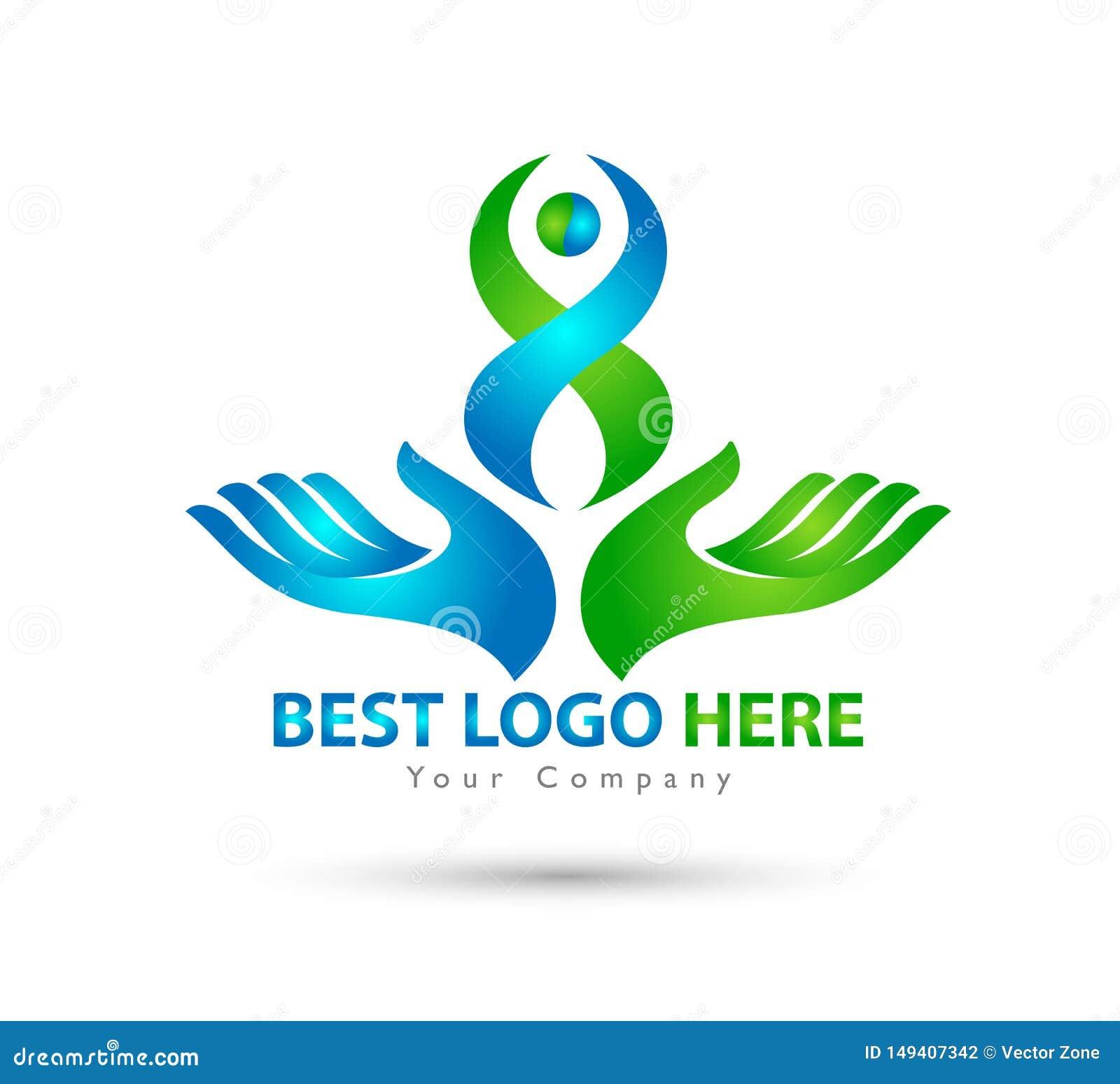 Logo heureux de vert de famille de personnes de logo de mains de couples de famille ensemble