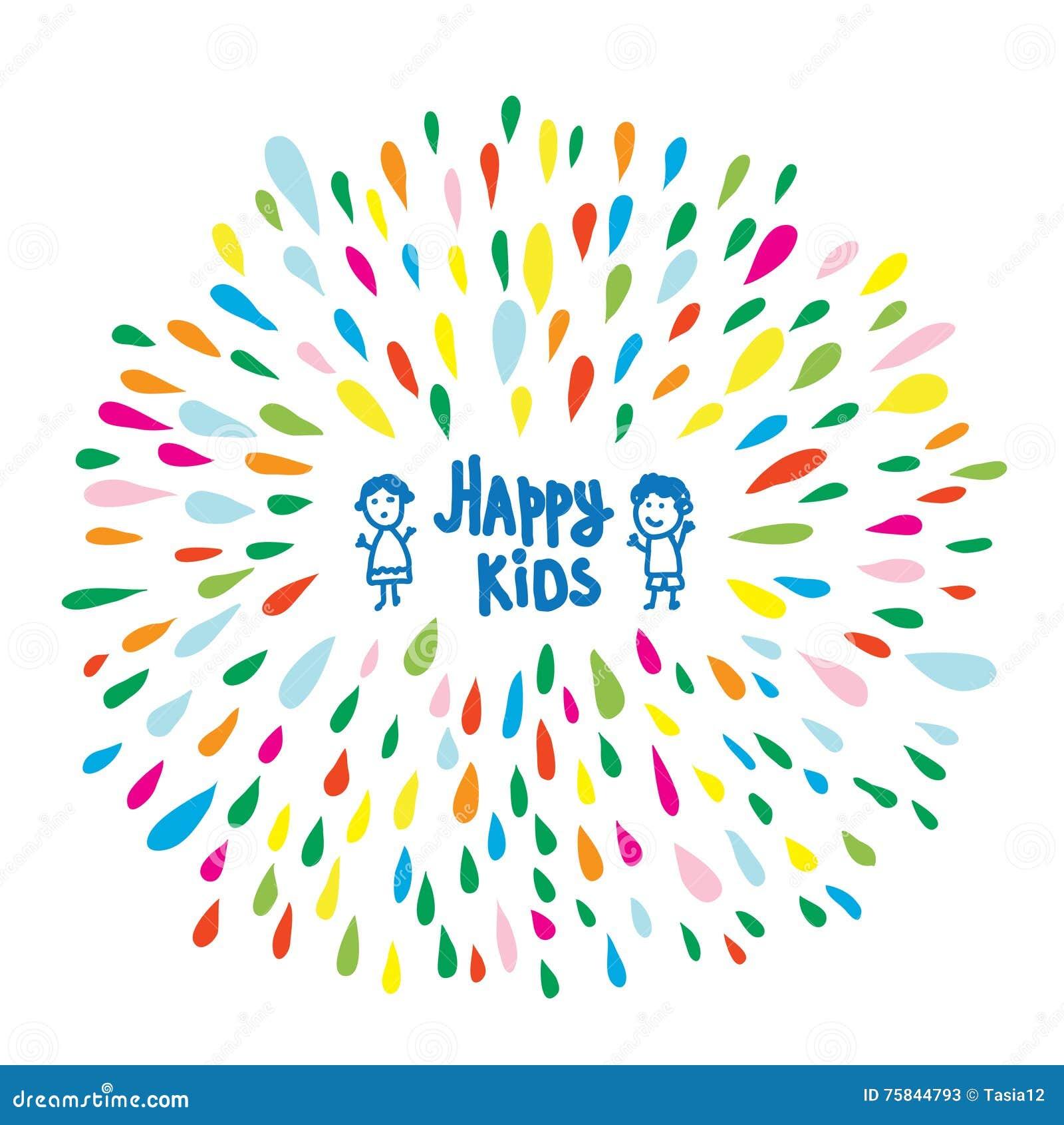 Extrêmement Logo Heureux Ou Carte D'enfants Pour L'école Maternelle Ou Le  QX51