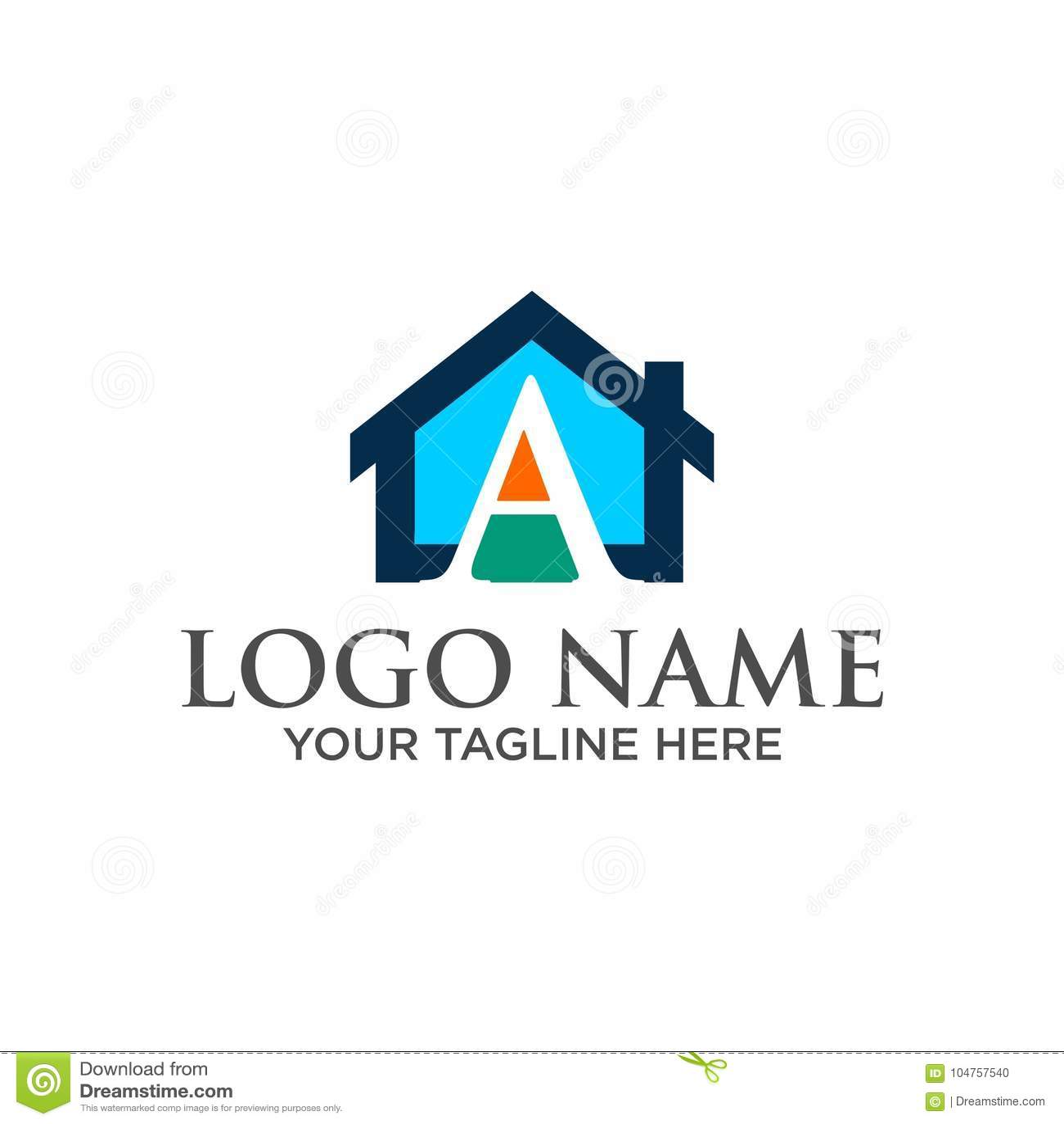 Kontruksi: Logo Huruf Awal `A` Atap Rumah Real Estat, Konstruksi