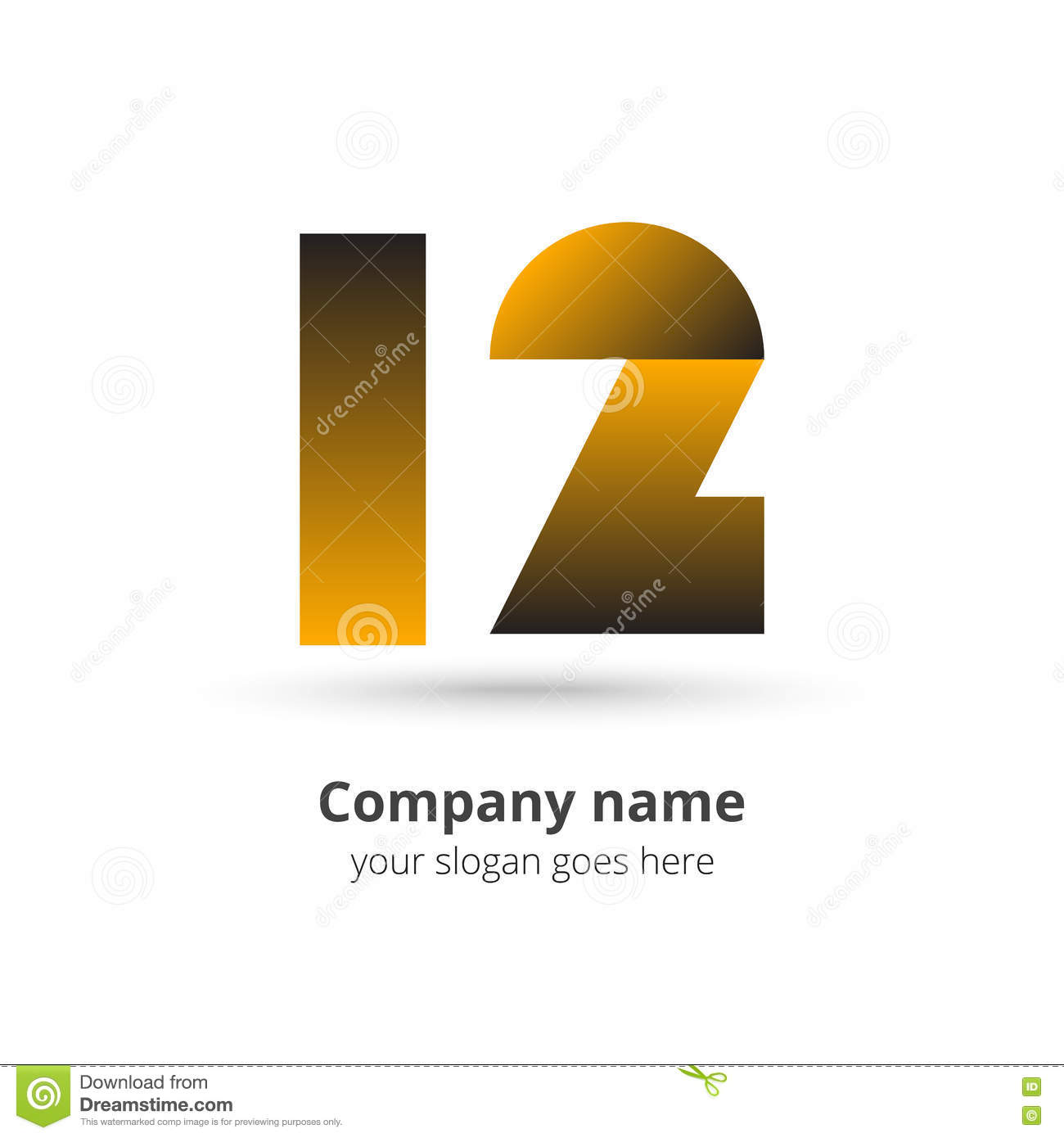 12 logo icon numbers vector with gold color years concept
