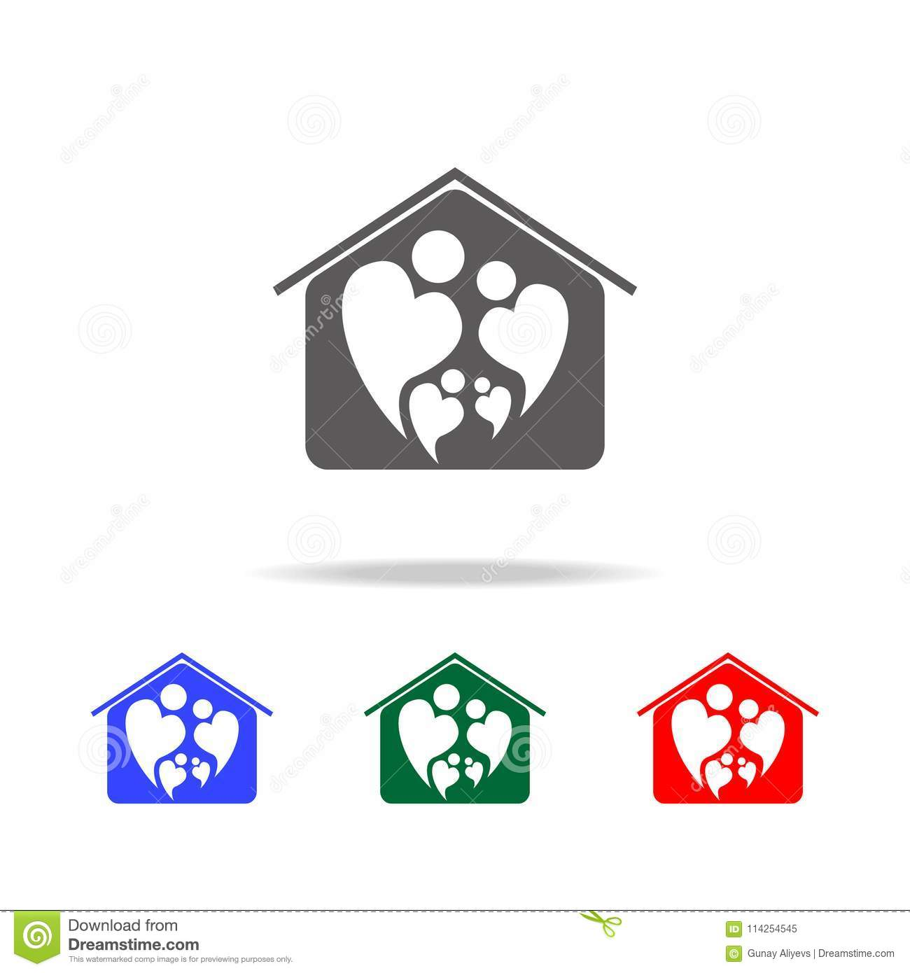 Logo Icon Of Two People In Love Forming Heart Symbol In Home Icon