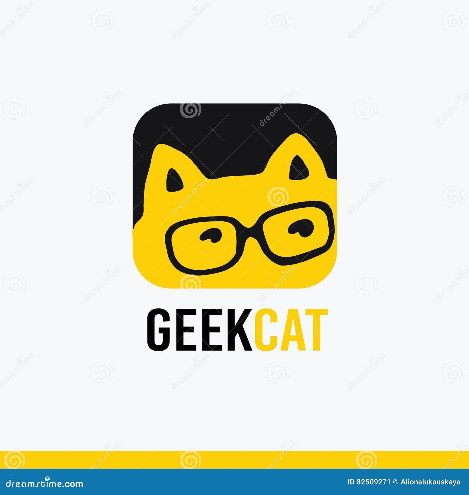 Logo, icon vector Geek cat logo templates, stylized cartoon cat
