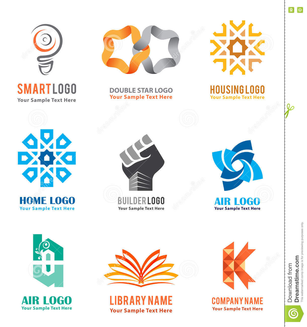 logo icons set for company identity branding like smart