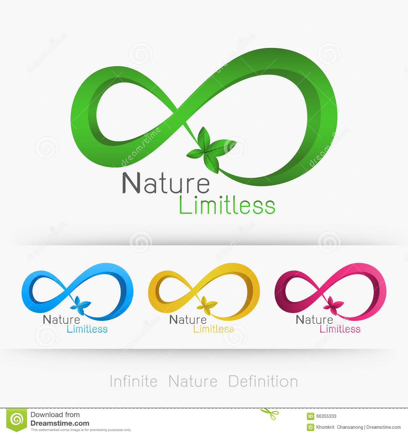 logo infinity with leaf stock illustration image of