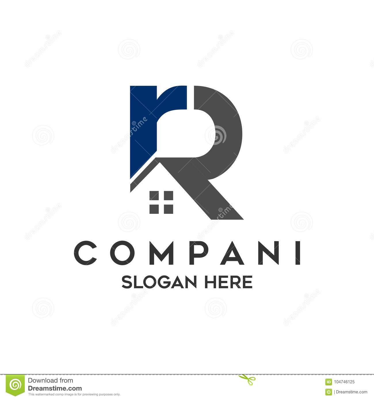 Logo initial letters `RR` roof home real estate, construction