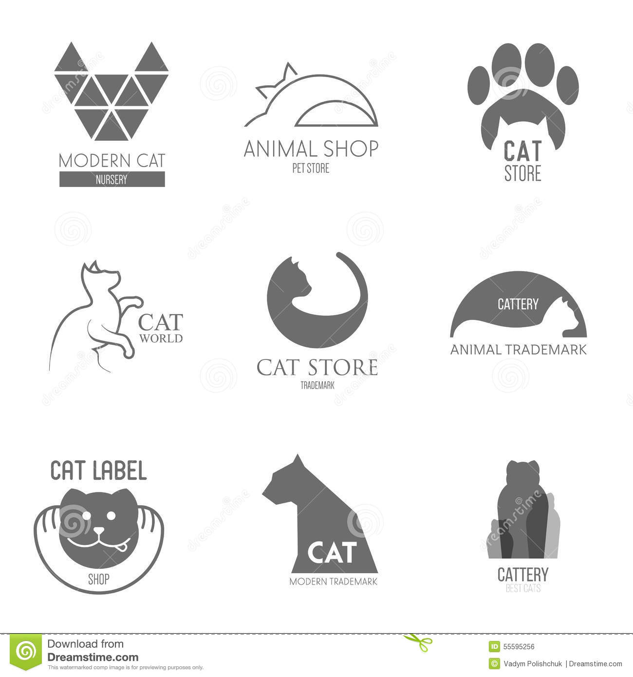 logo inspiration for shops companies advertising with cat stock