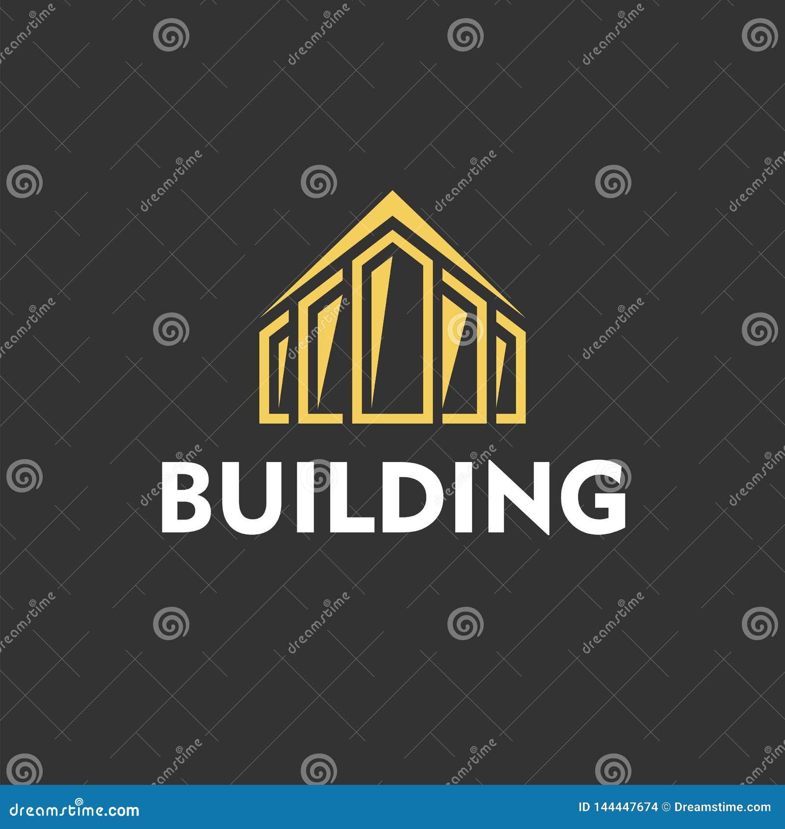 Logo jaune pour la société de construction sur le fond noir Vecteur