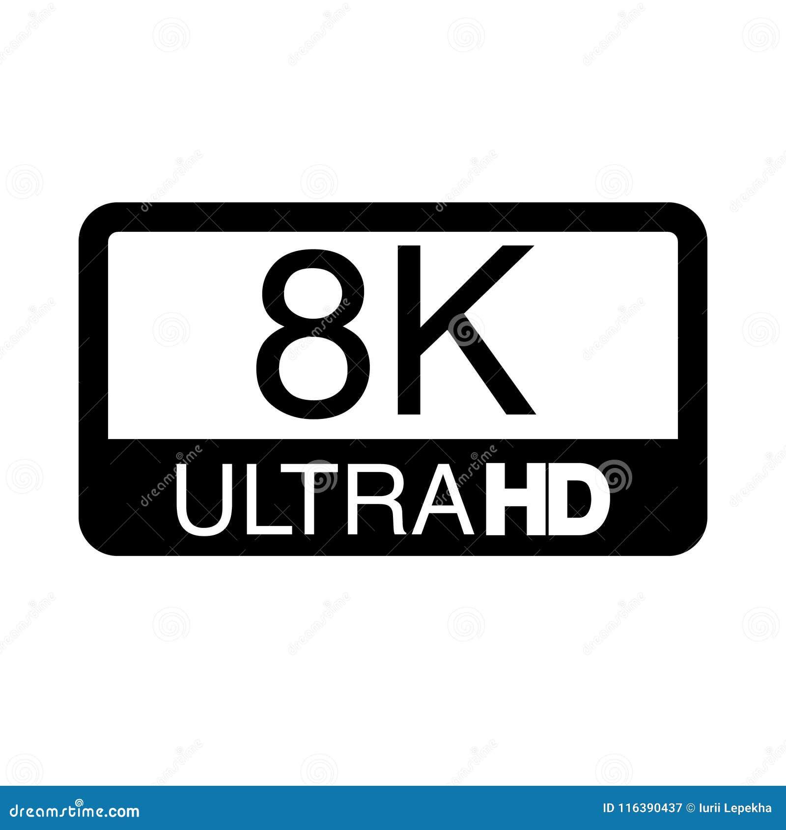 Logo 8K Ultra HD  Vector Illustration Of 8K Video  Stock