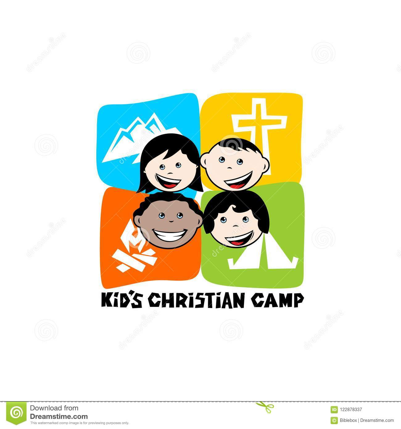 Logo of kid`s Christian camp. Mountains, cross and tent, kiddies.
