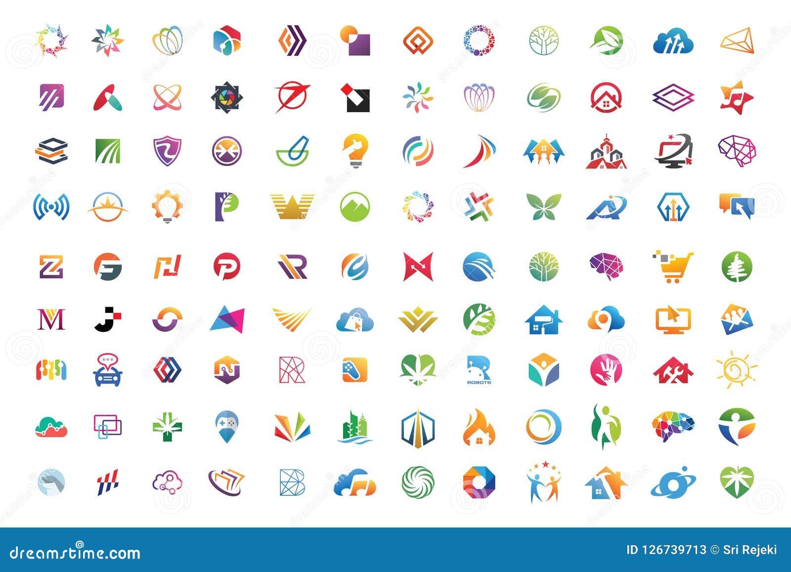 Logo kolekcj megiej abstrakcjonistycznej geometrycznej biznesowej ikony ustalony wektor eps 10