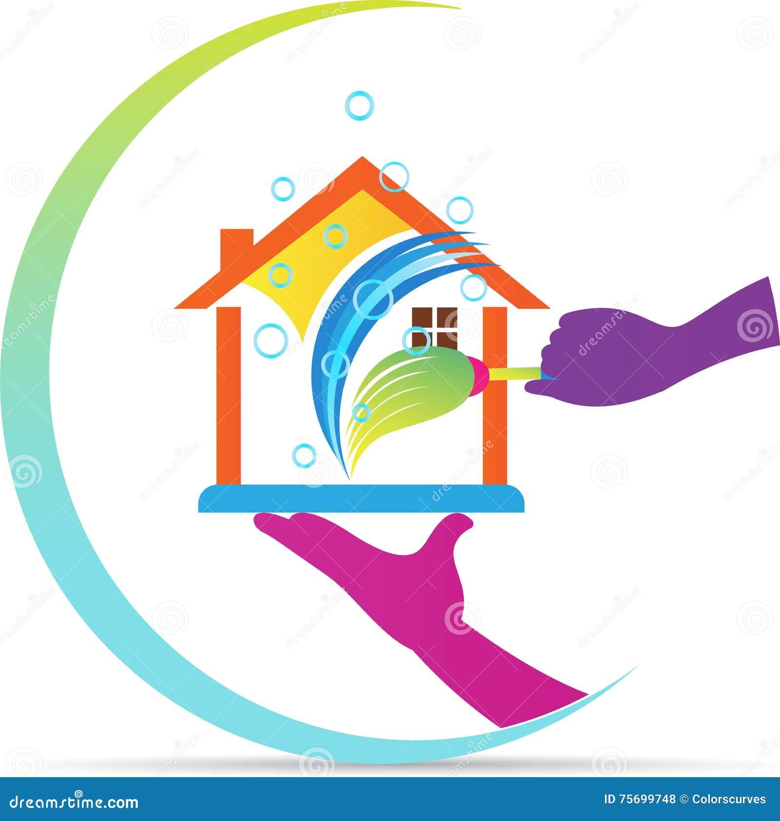 Logo la maison de service de nettoyage illustration de for Service a la maison