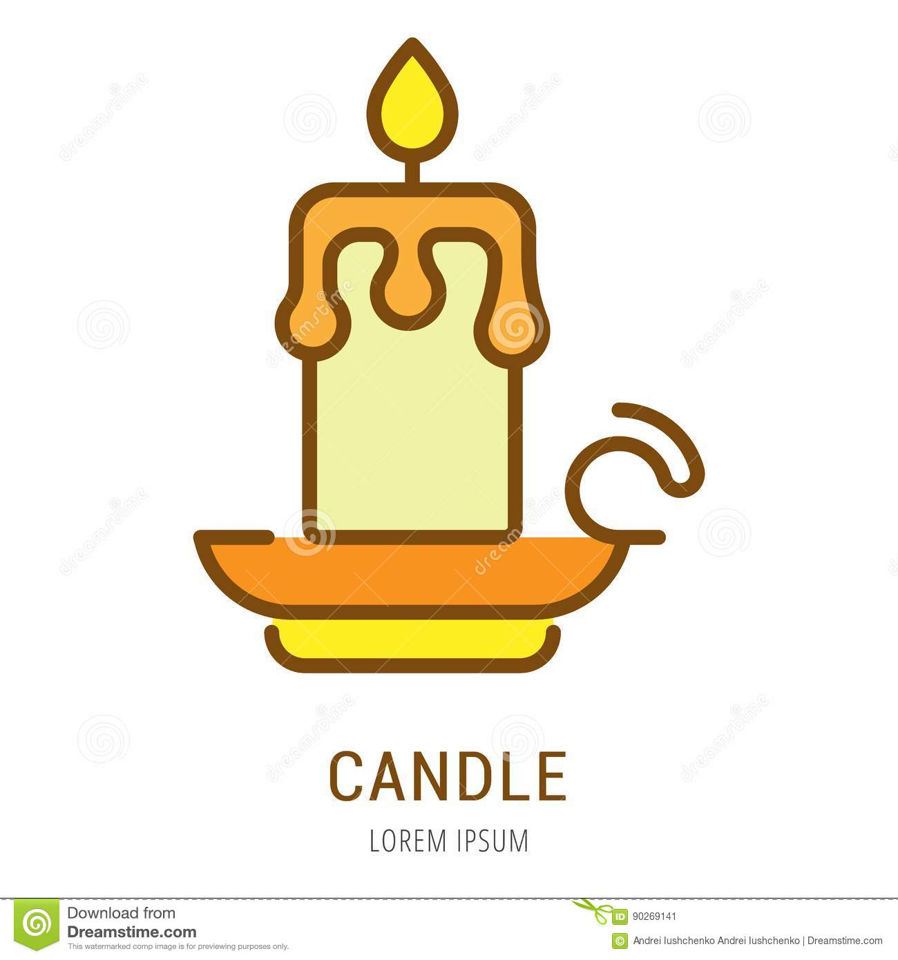 vector simple logo template candle stock illustration illustration