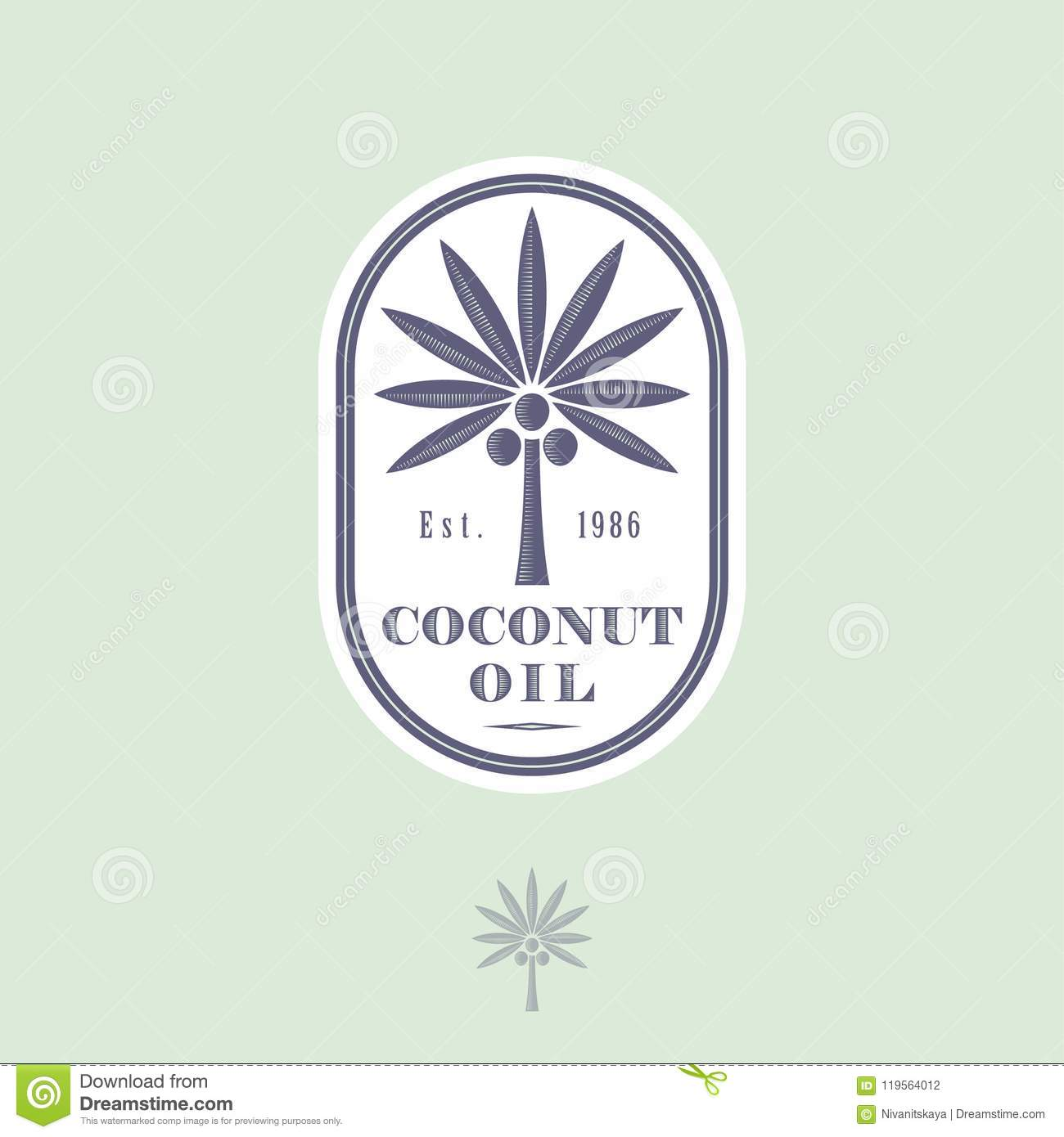Logo And Label For Coconut Oil For Packaging Coconut Tree With