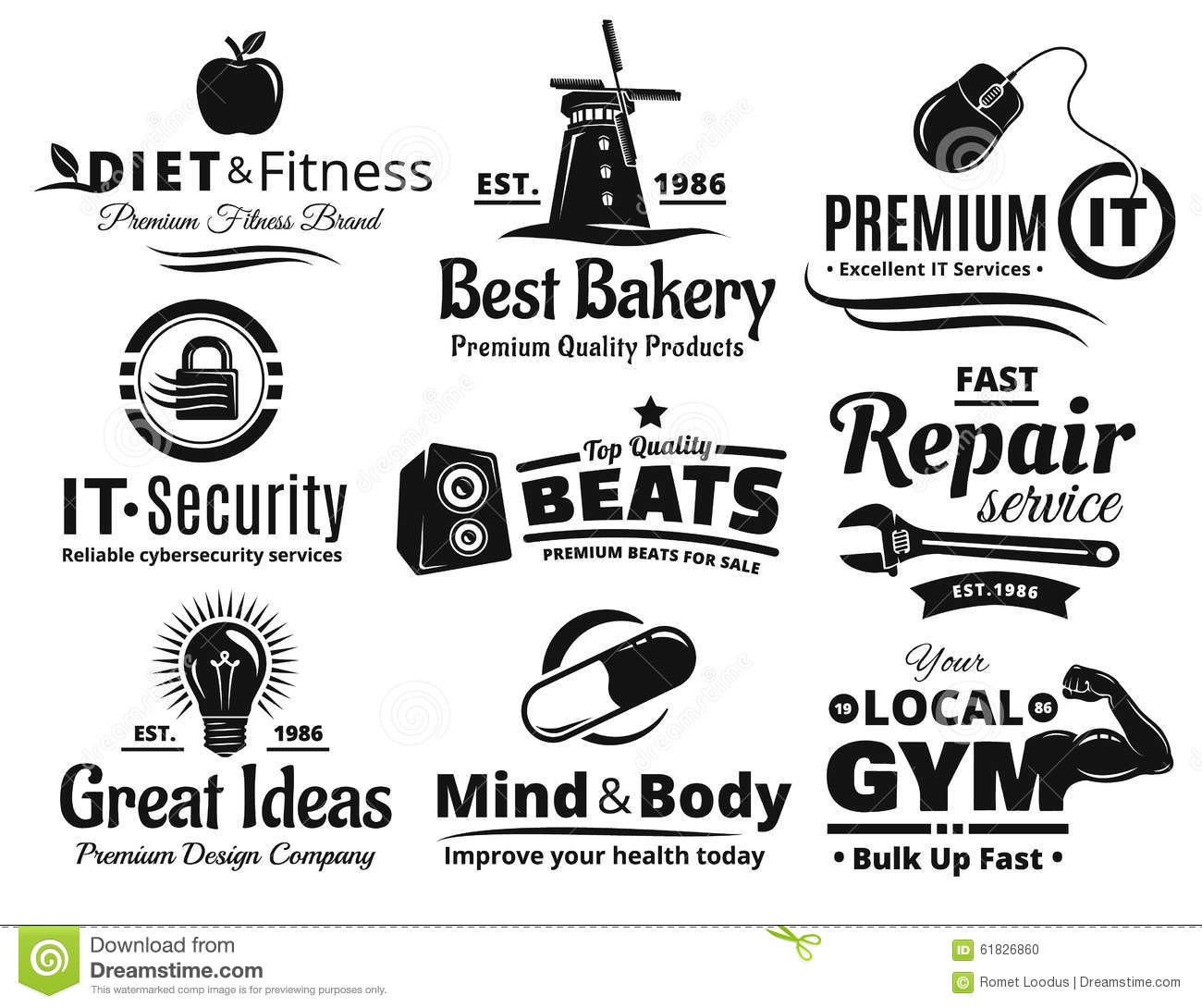 logo label insignia and icon set stock vector illustration of