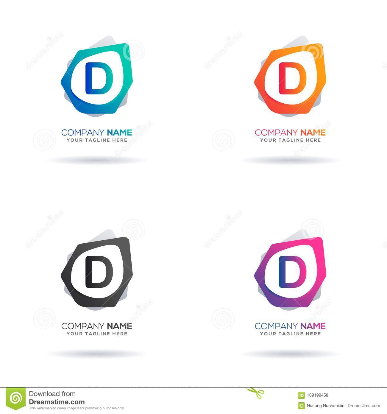 Set Of Initial Letter D Logo Design. Abstract Shape For