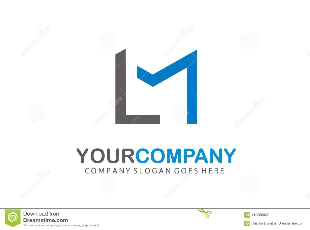logo letter lm design concept stock vector illustration of blue