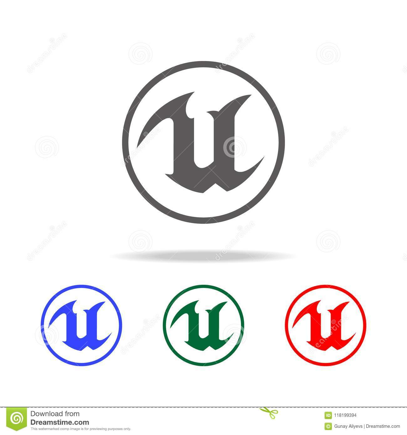 Logo for letter U icon. Elements of game life in multi colored icons. Premium quality graphic design icon. Simple icon for website