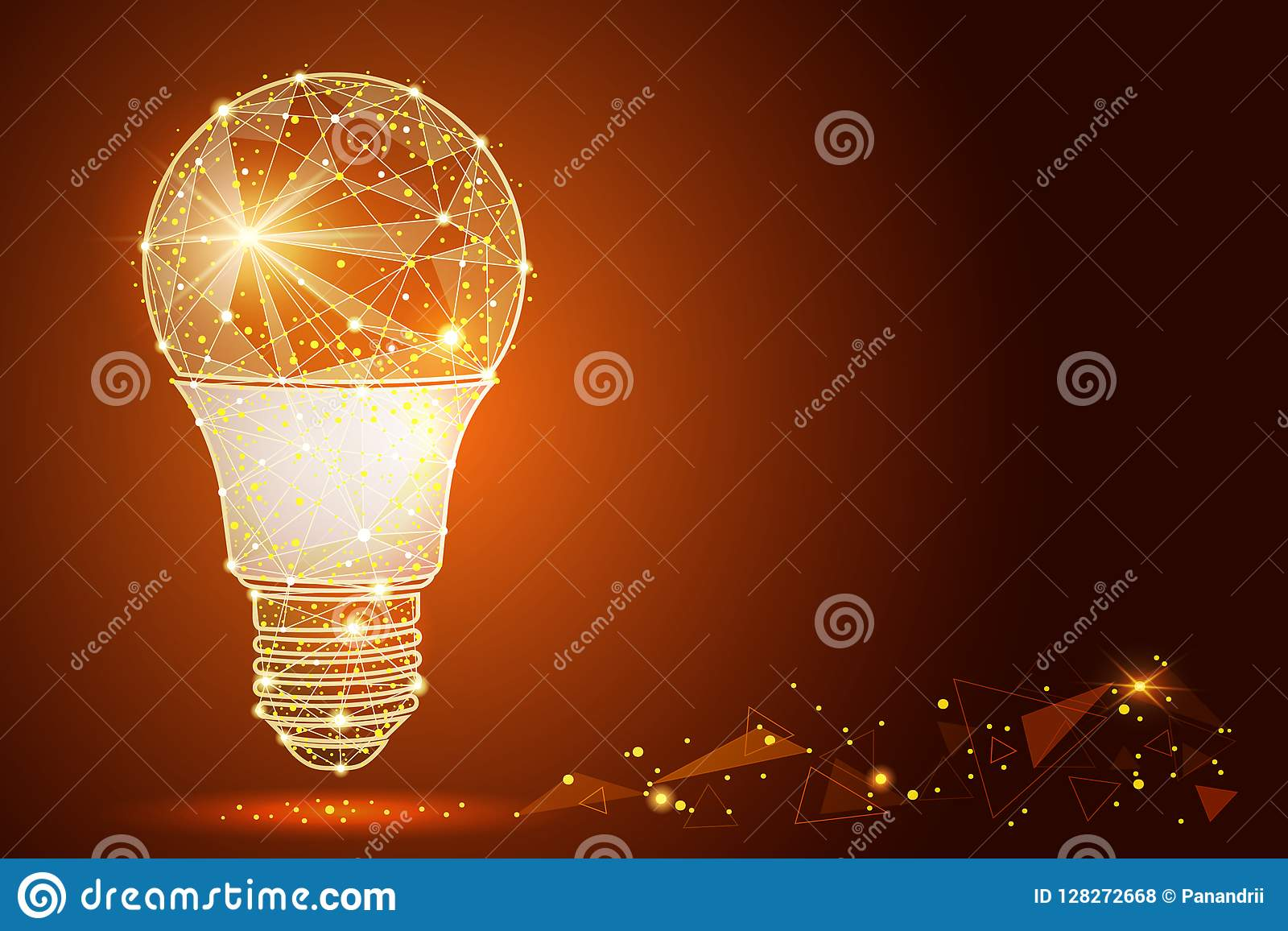 Logo light bulb abstract design in low poly style in the form of
